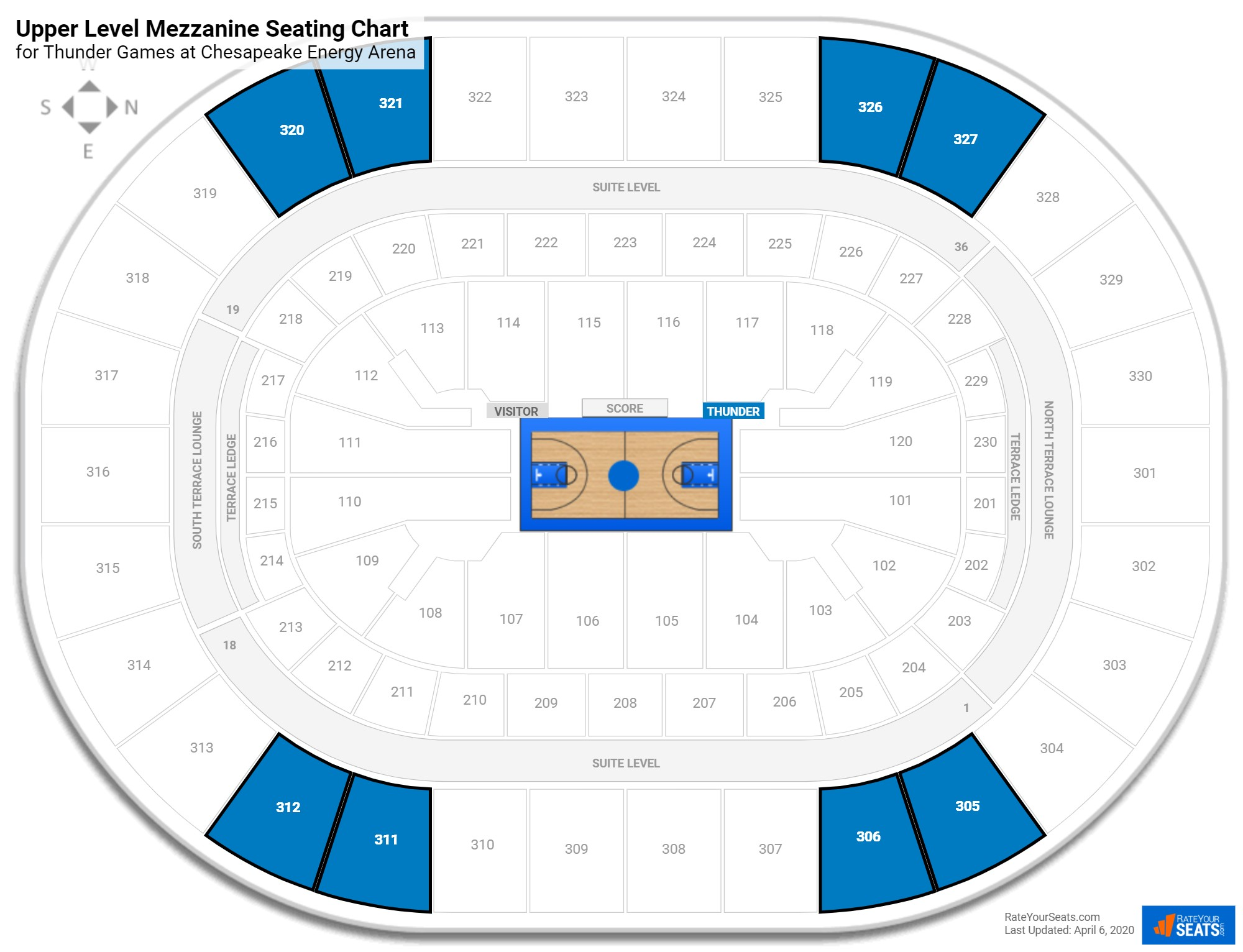 Chesapeake Energy Arena Upper Level Mezzanine seating chart