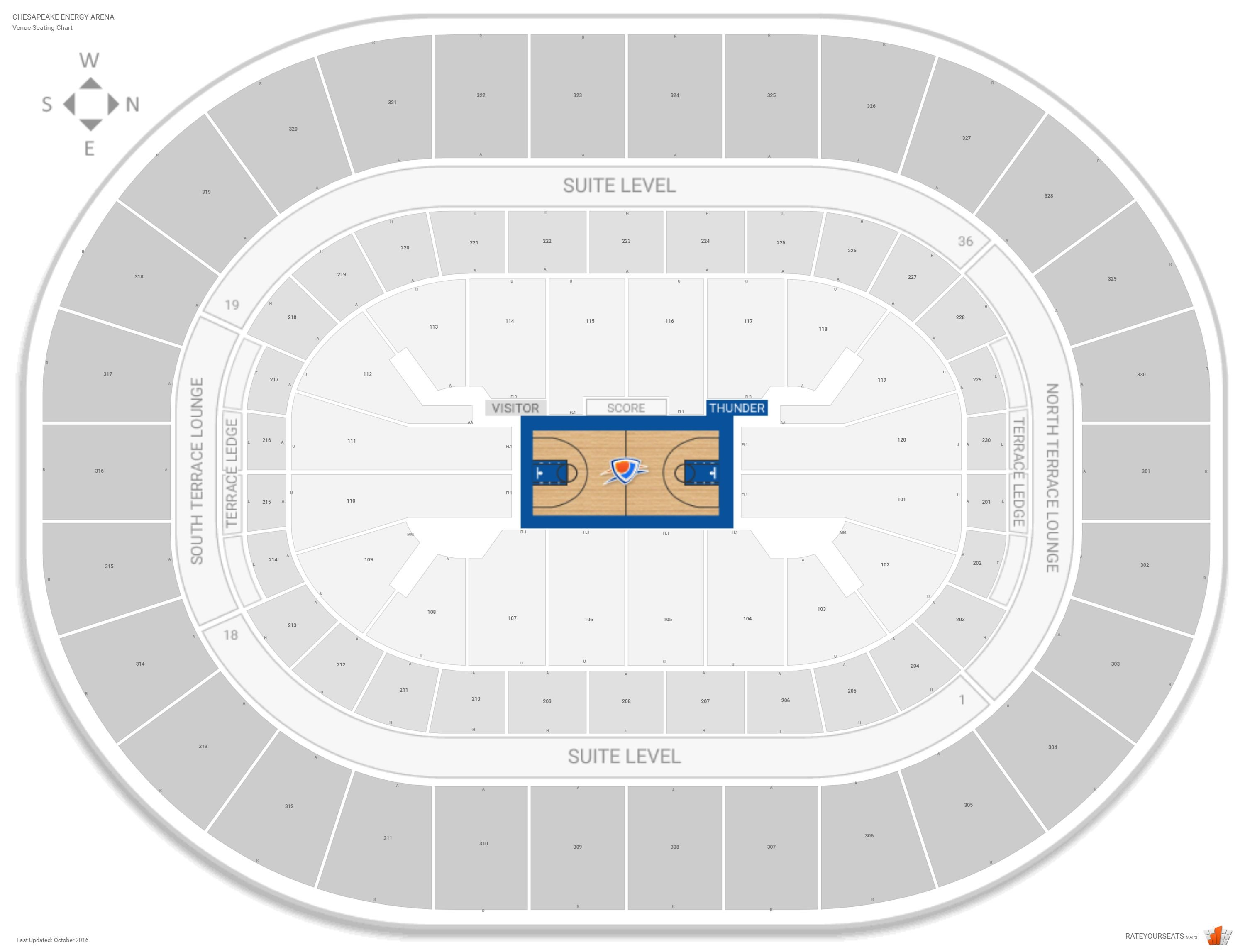 Chesapeake Energy Arena Seating Chart With Row Numbers