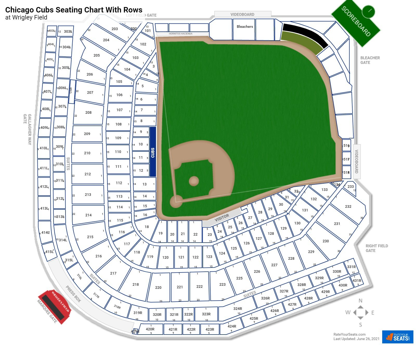 Wrigley Field seating chart with rows baseball