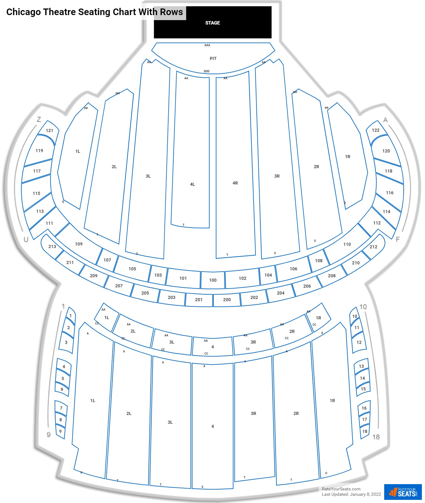 Chicago Theatre seating chart with rows