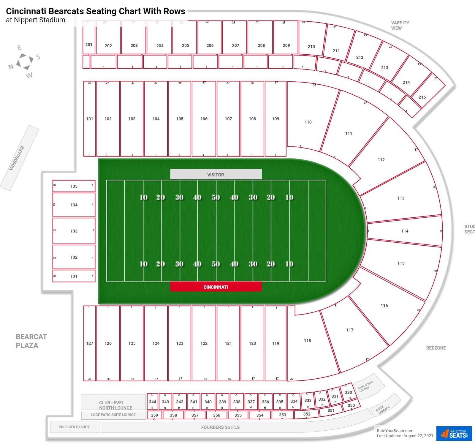 Nippert Stadium seating chart with rows football