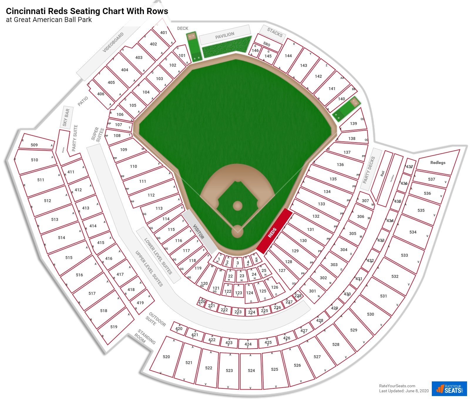 Great American Ball Park seating chart with rows baseball