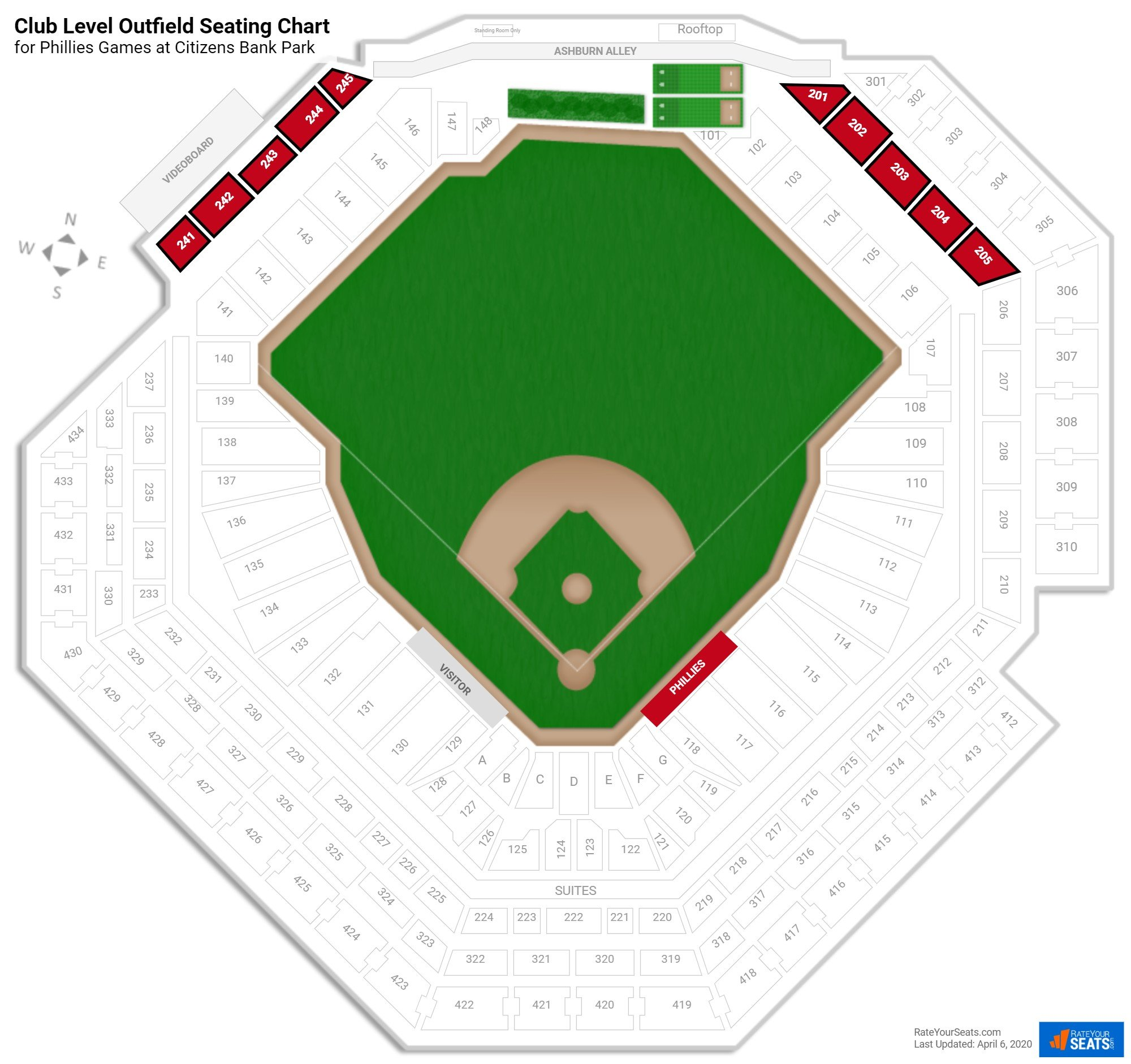 Citizens Bank Park Club Level Outfield seating chart