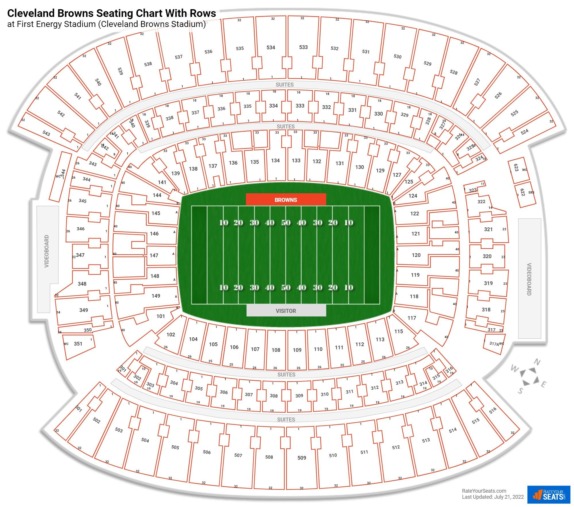 First Energy Stadium (Cleveland Browns Stadium) seating chart with rows