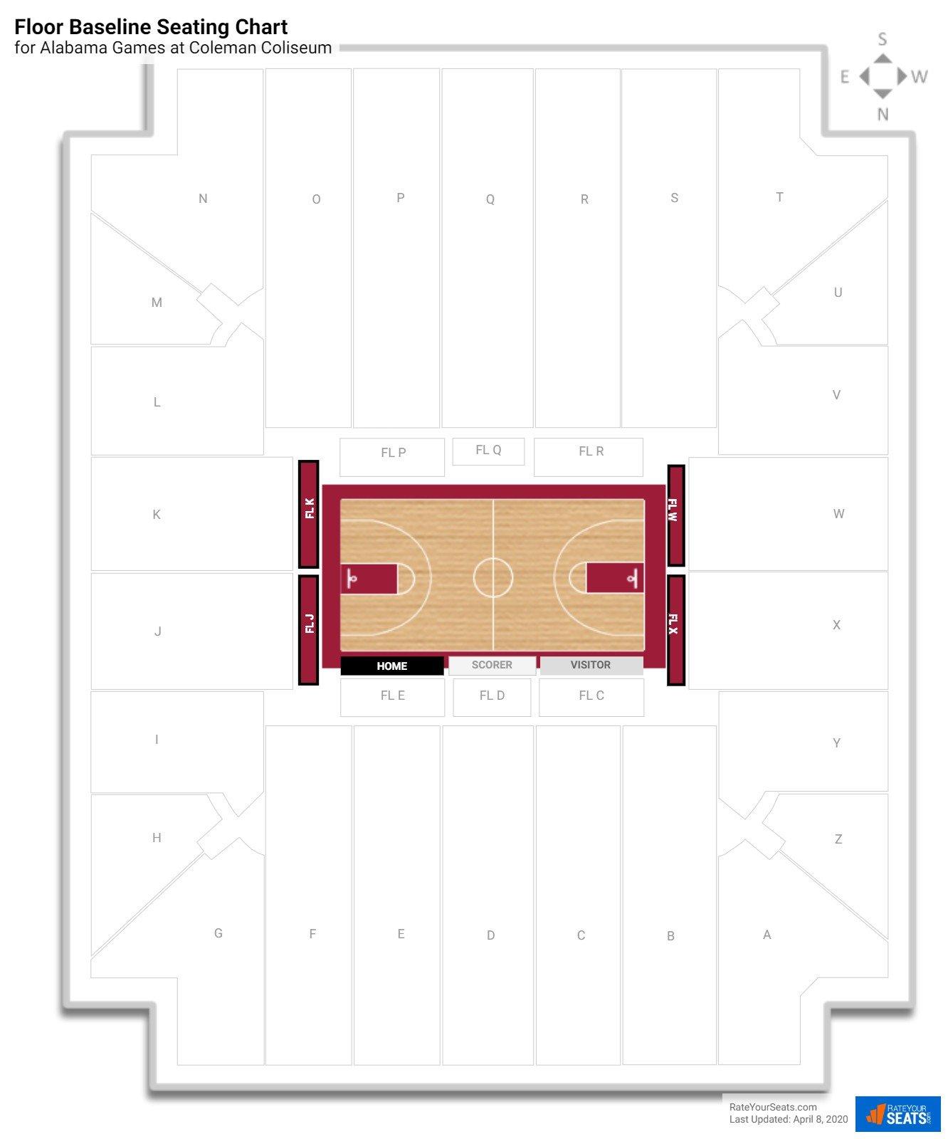 Coleman coliseum alabama seating guide rateyourseats coleman coliseum floor baseline seating chart nvjuhfo Choice Image