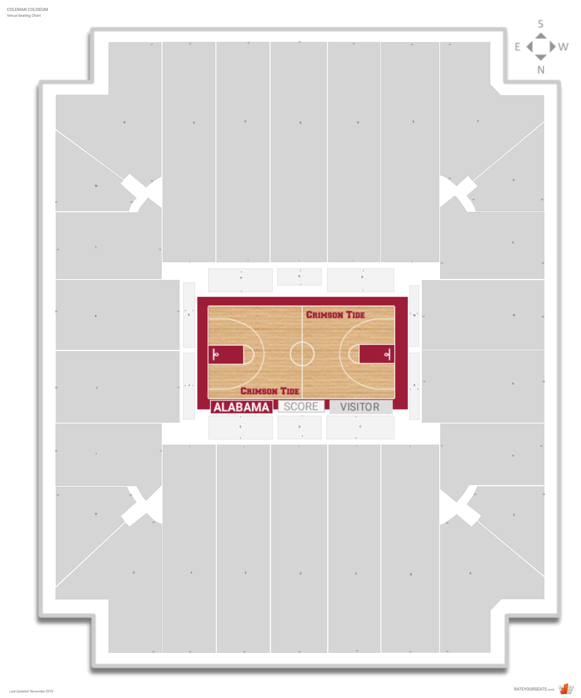 Coleman coliseum alabama seating guide rateyourseats coleman coliseum seating chart with row numbers nvjuhfo Choice Image