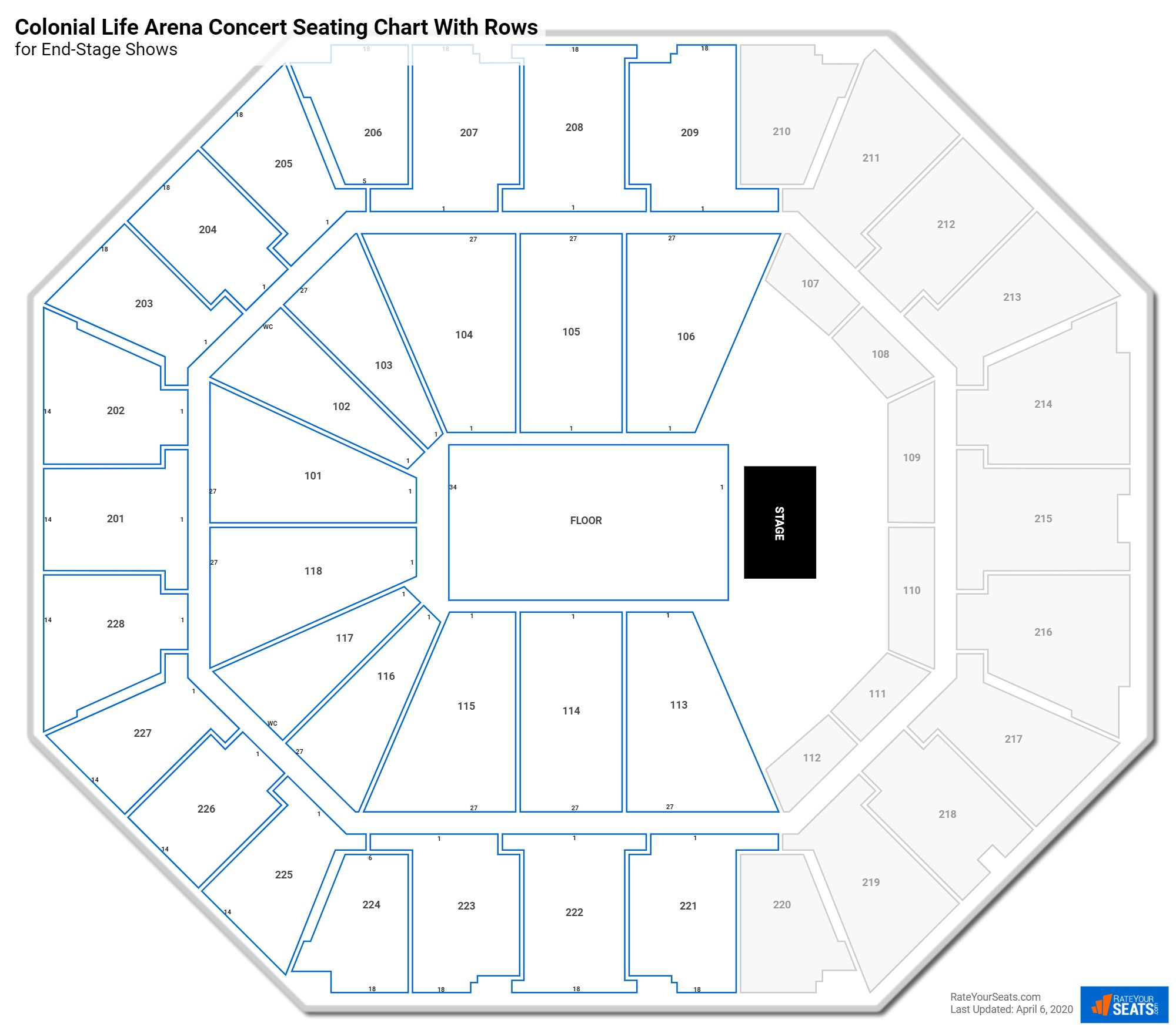 Colonial Life Arena seating chart with rows concert