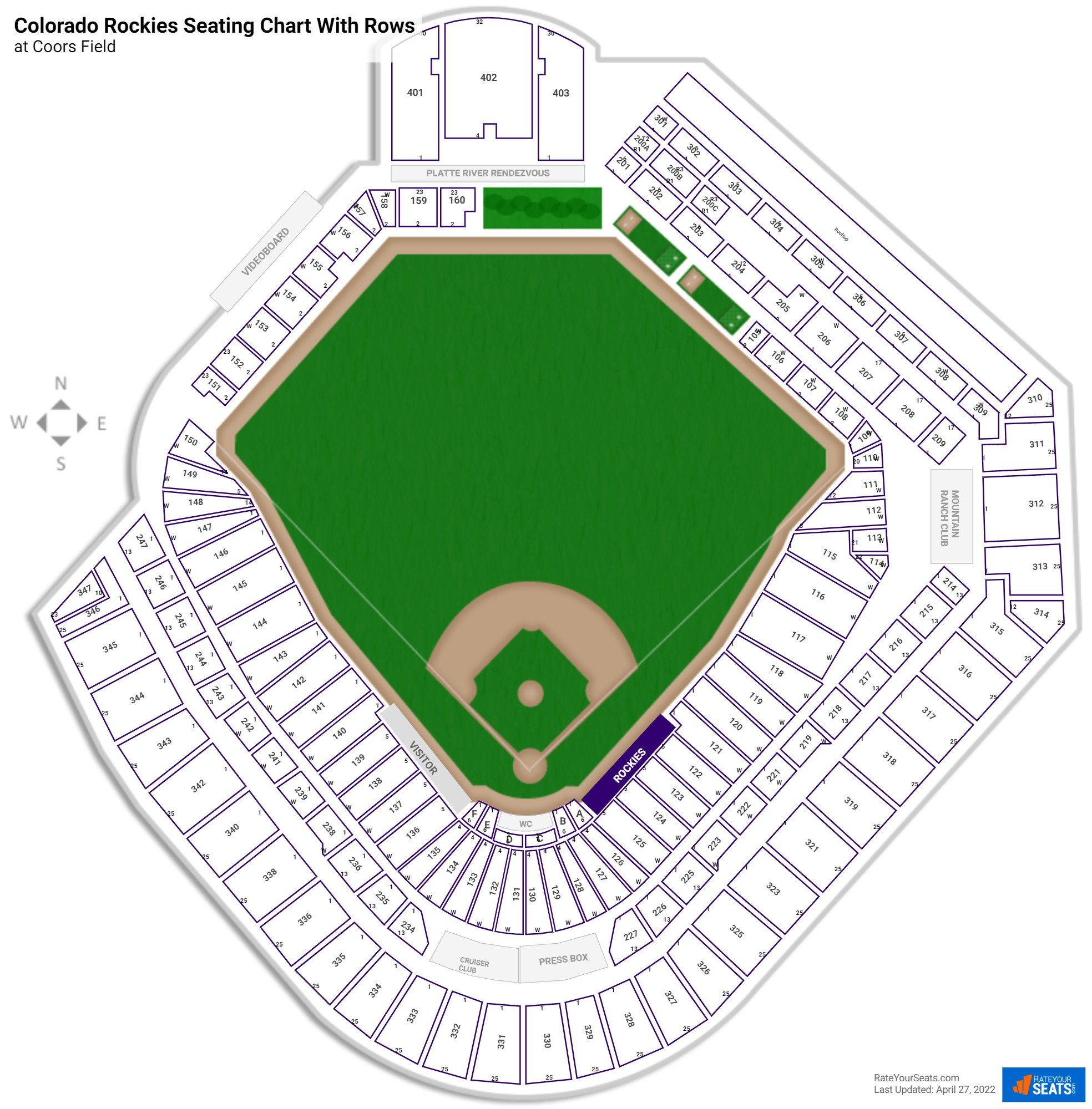 Coors Field seating chart with rows