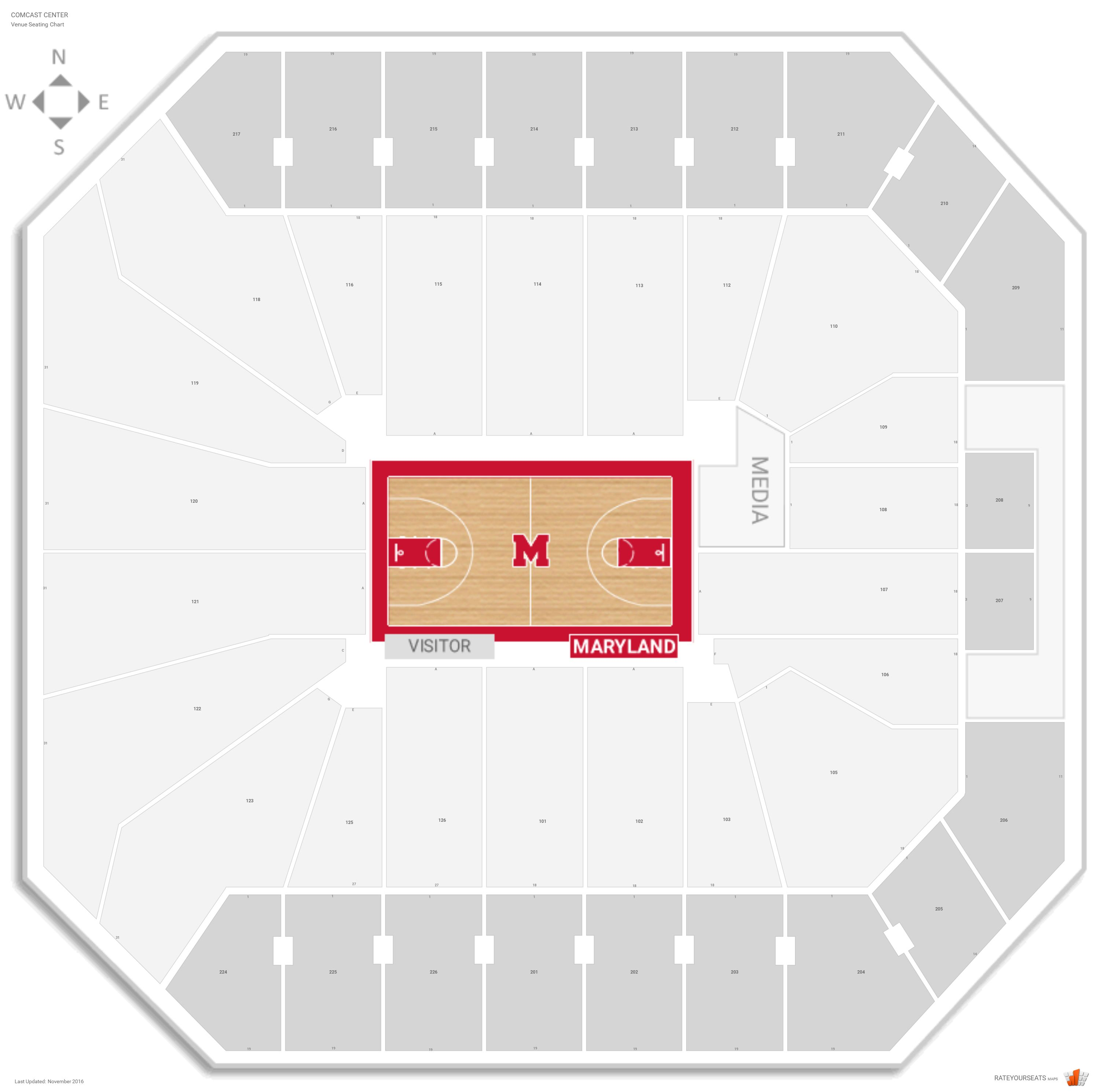 Comcast Center Seating Chart With Row Numbers