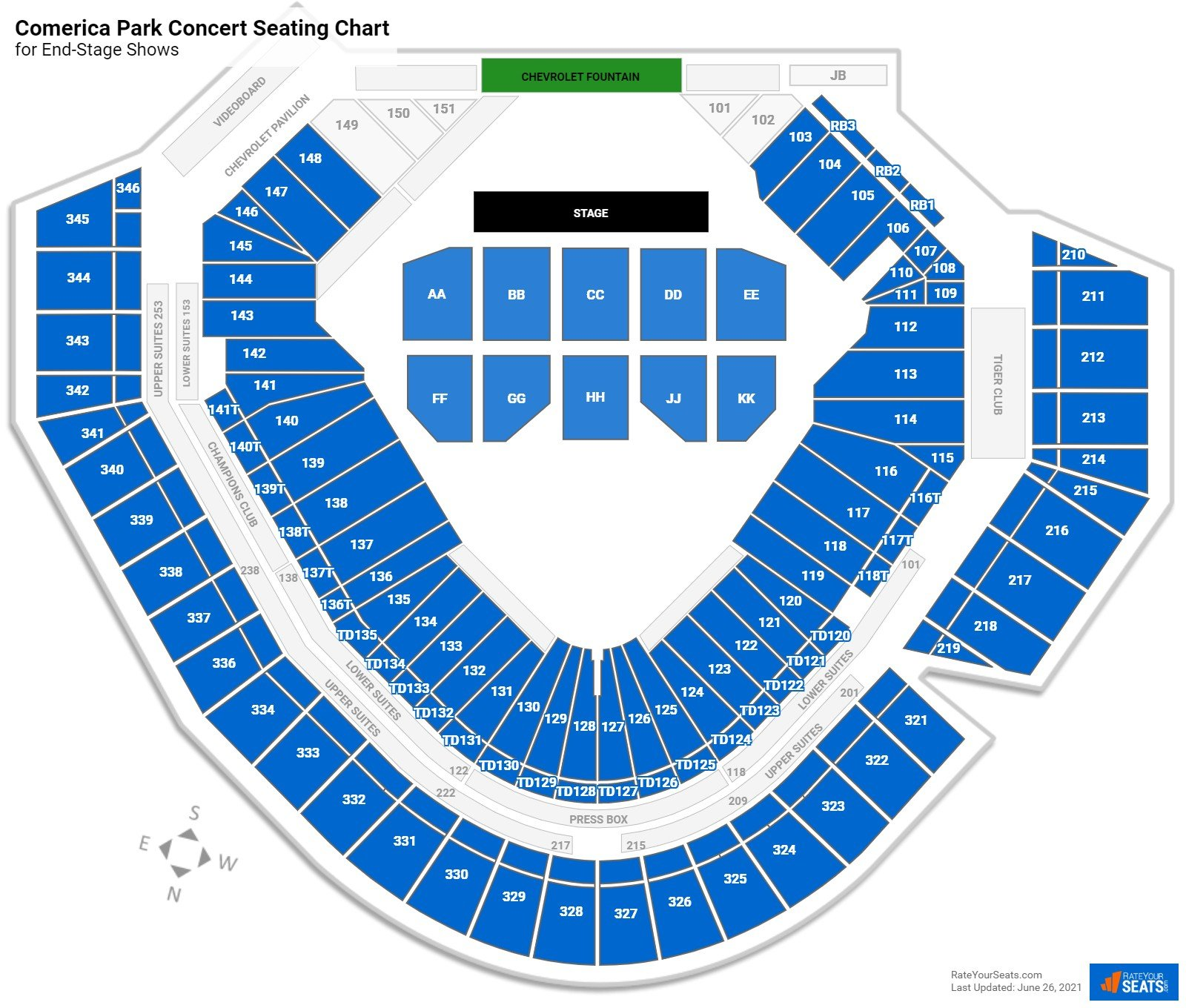 Comerica Park Seating Chart for Concerts