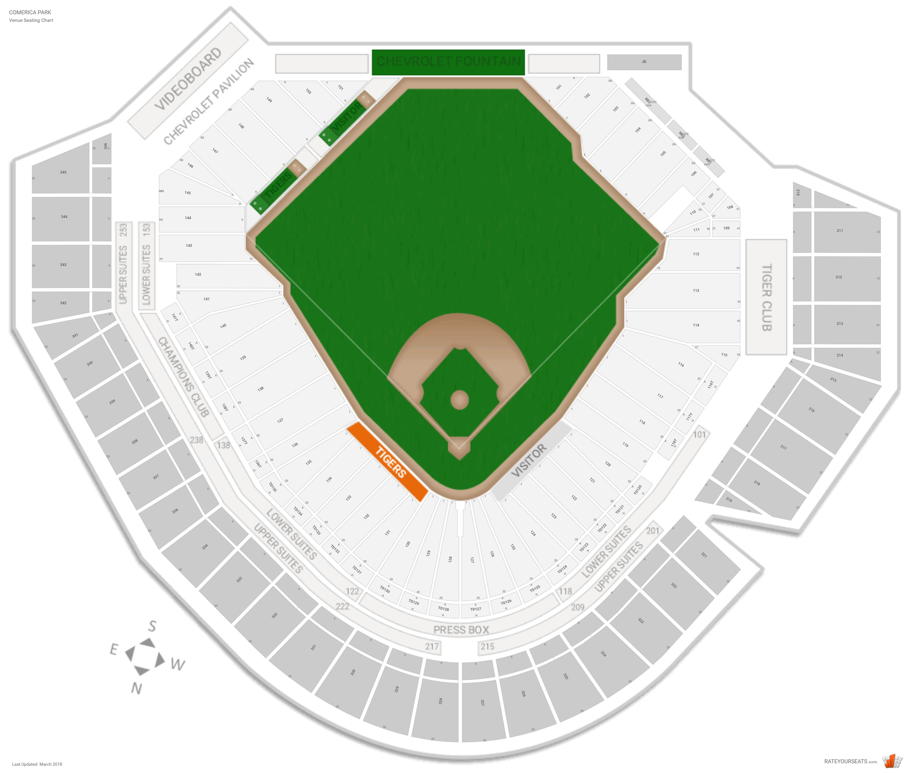 Comerica Park Seating Chart With Row Numbers