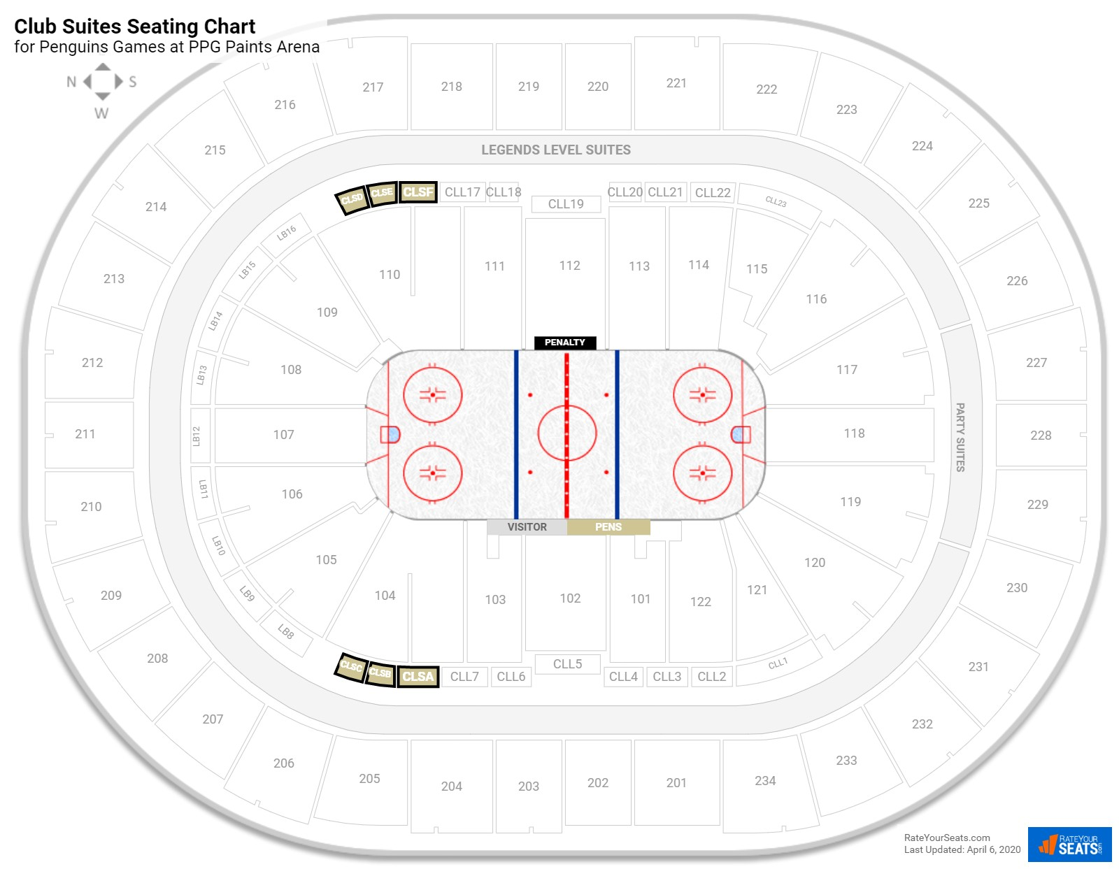 Consol Energy Center Club Level Corner seating chart