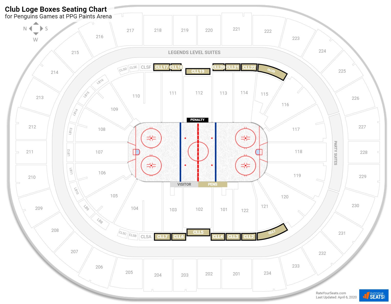 PPG Paints Arena Club Loge Boxes seating chart