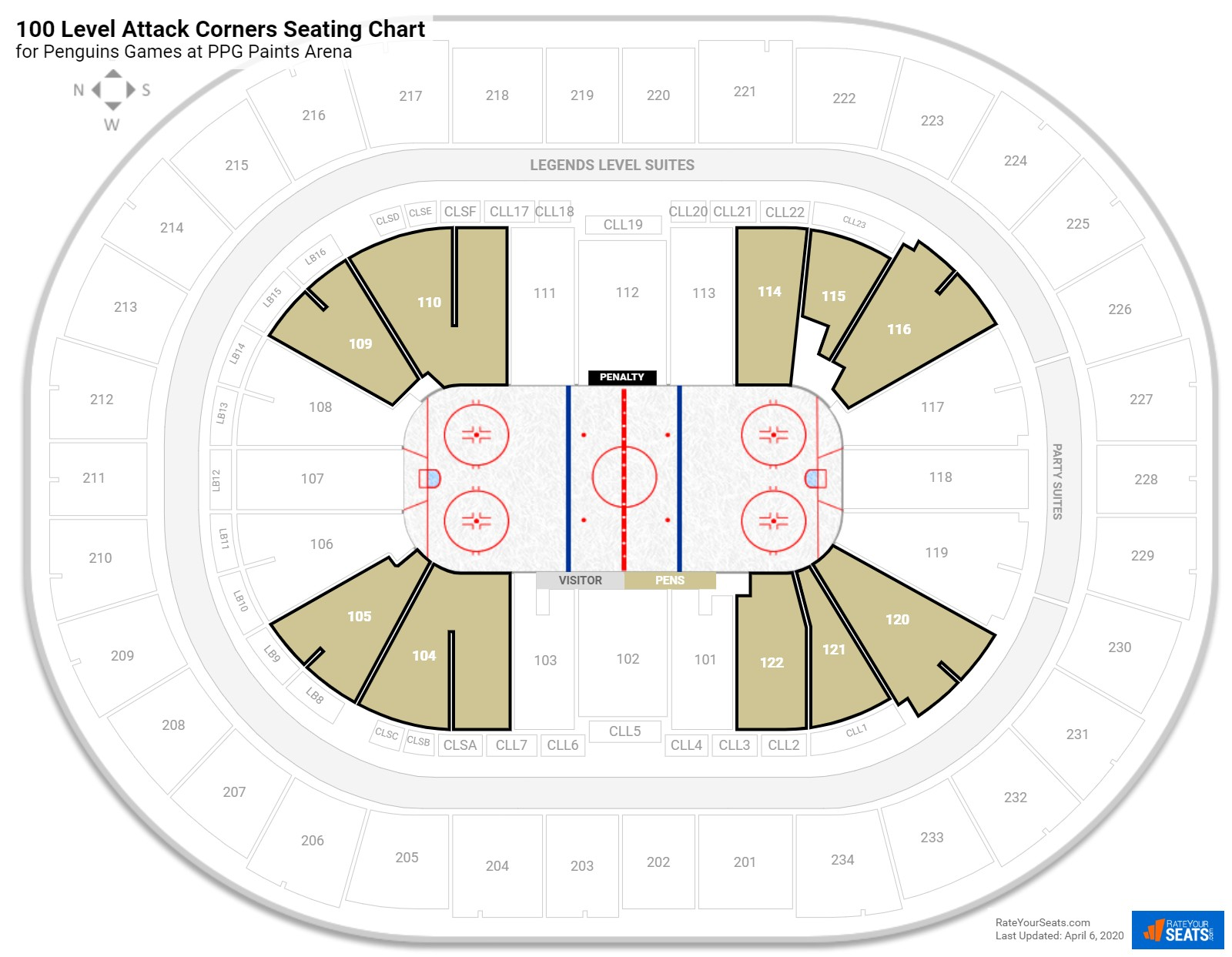 PPG Paints Arena Lower Level Corner seating chart