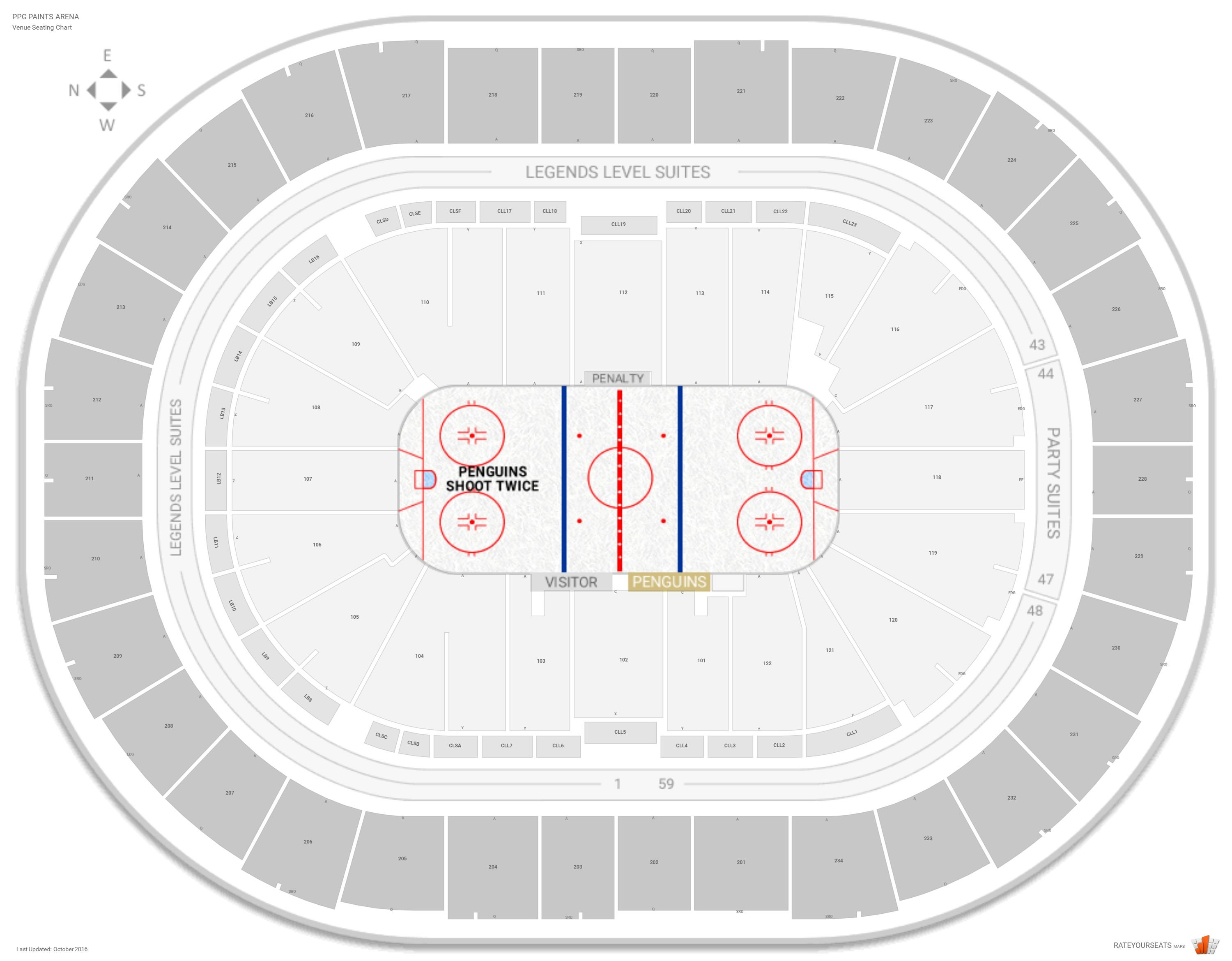 PPG Paints Arena Seating Chart with Row Numbers · Lower Level Center