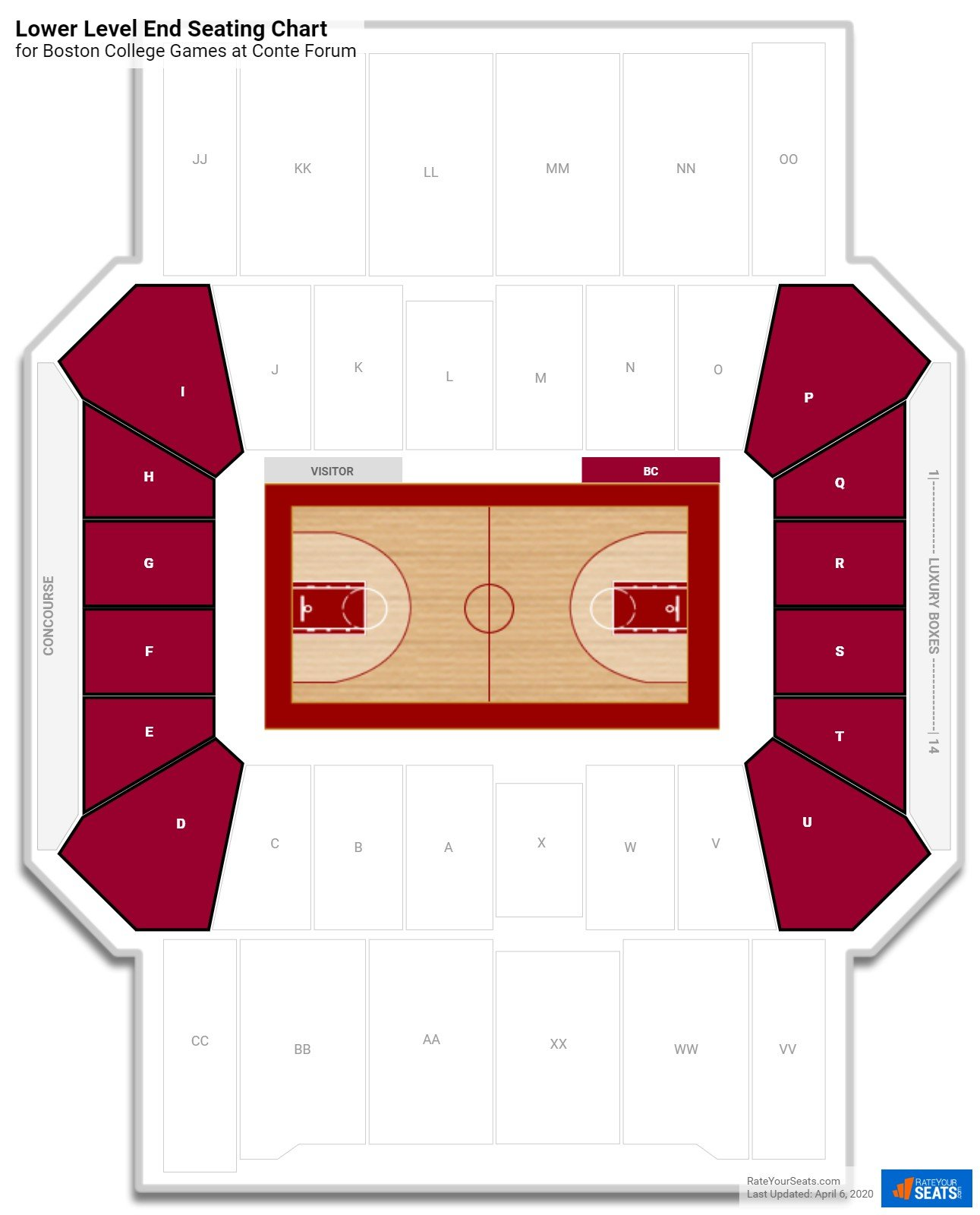 Conte Forum Lower Level End seating chart