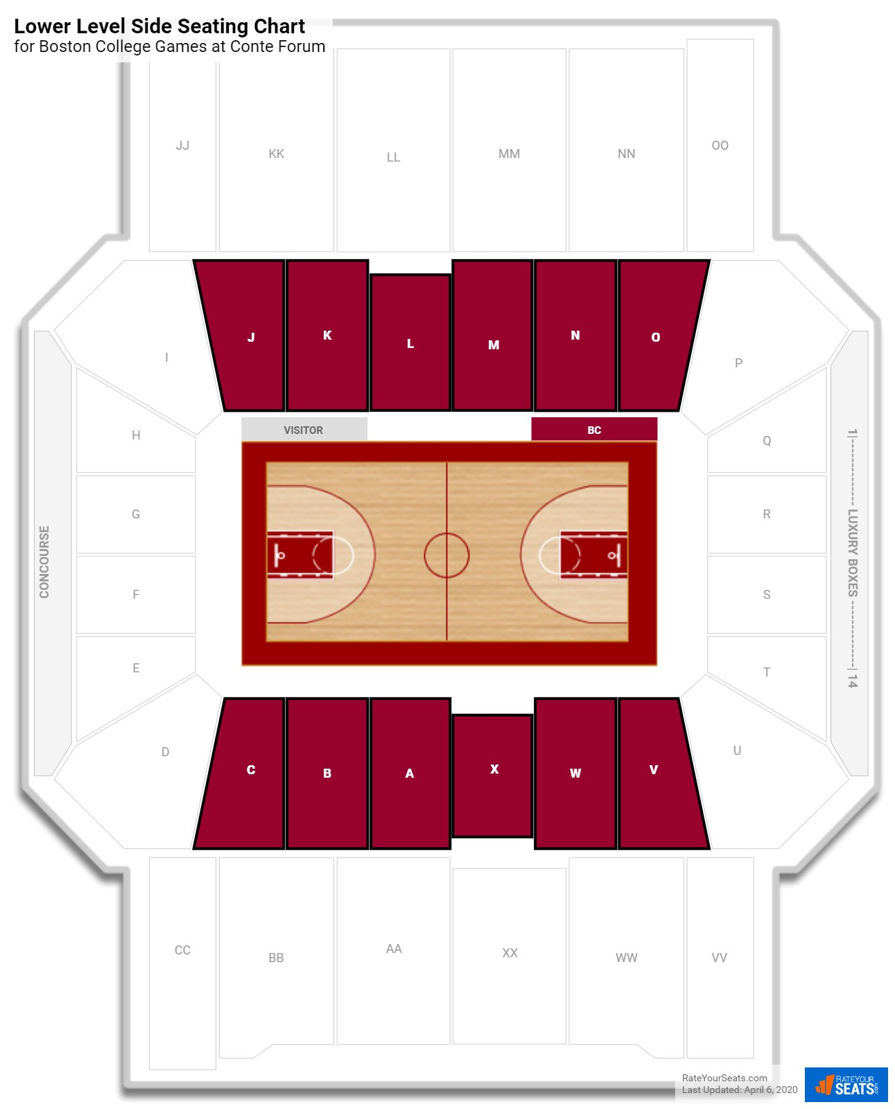 Conte Forum Lower Level Side seating chart