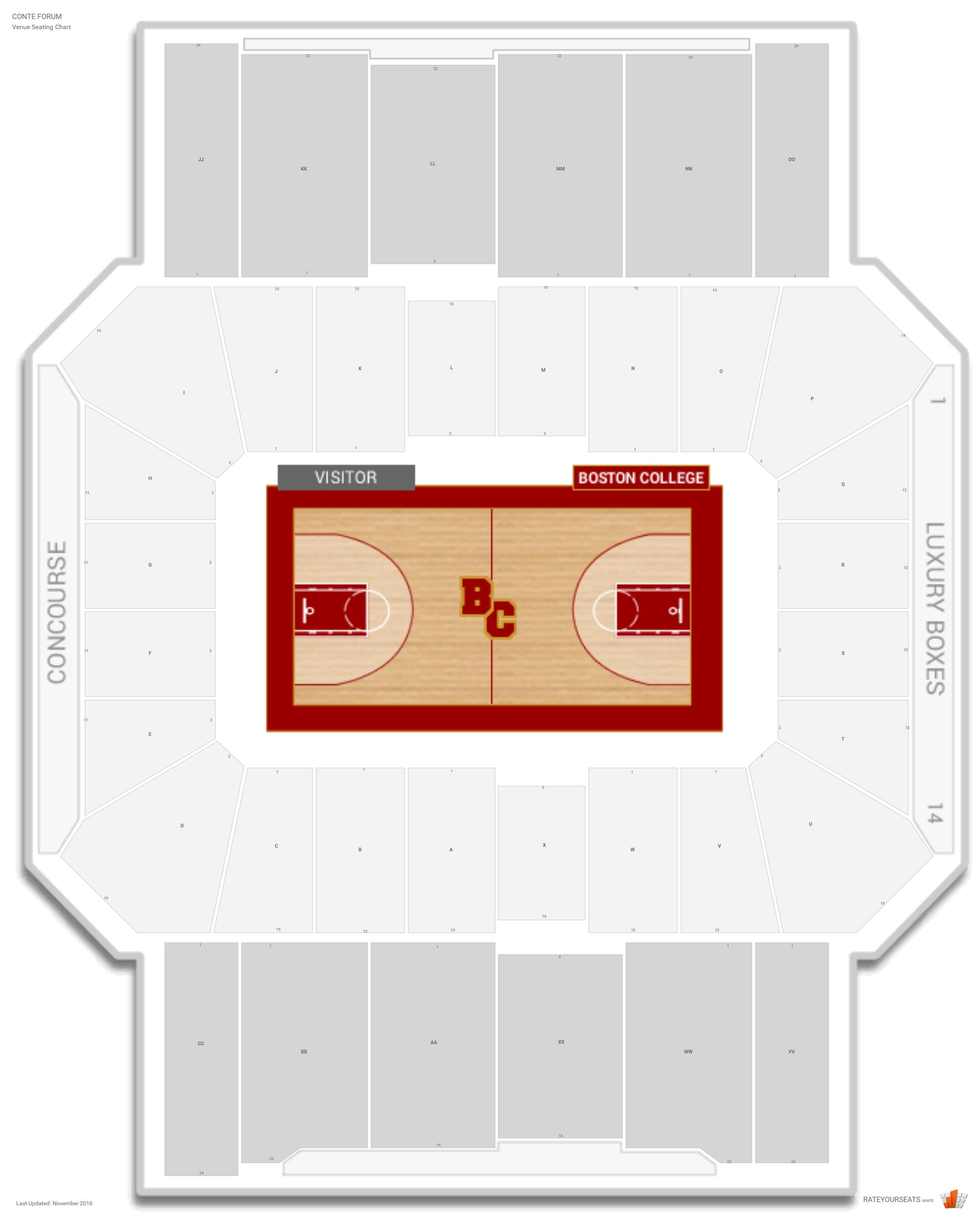 Conte Forum Seating Chart with Row Numbers