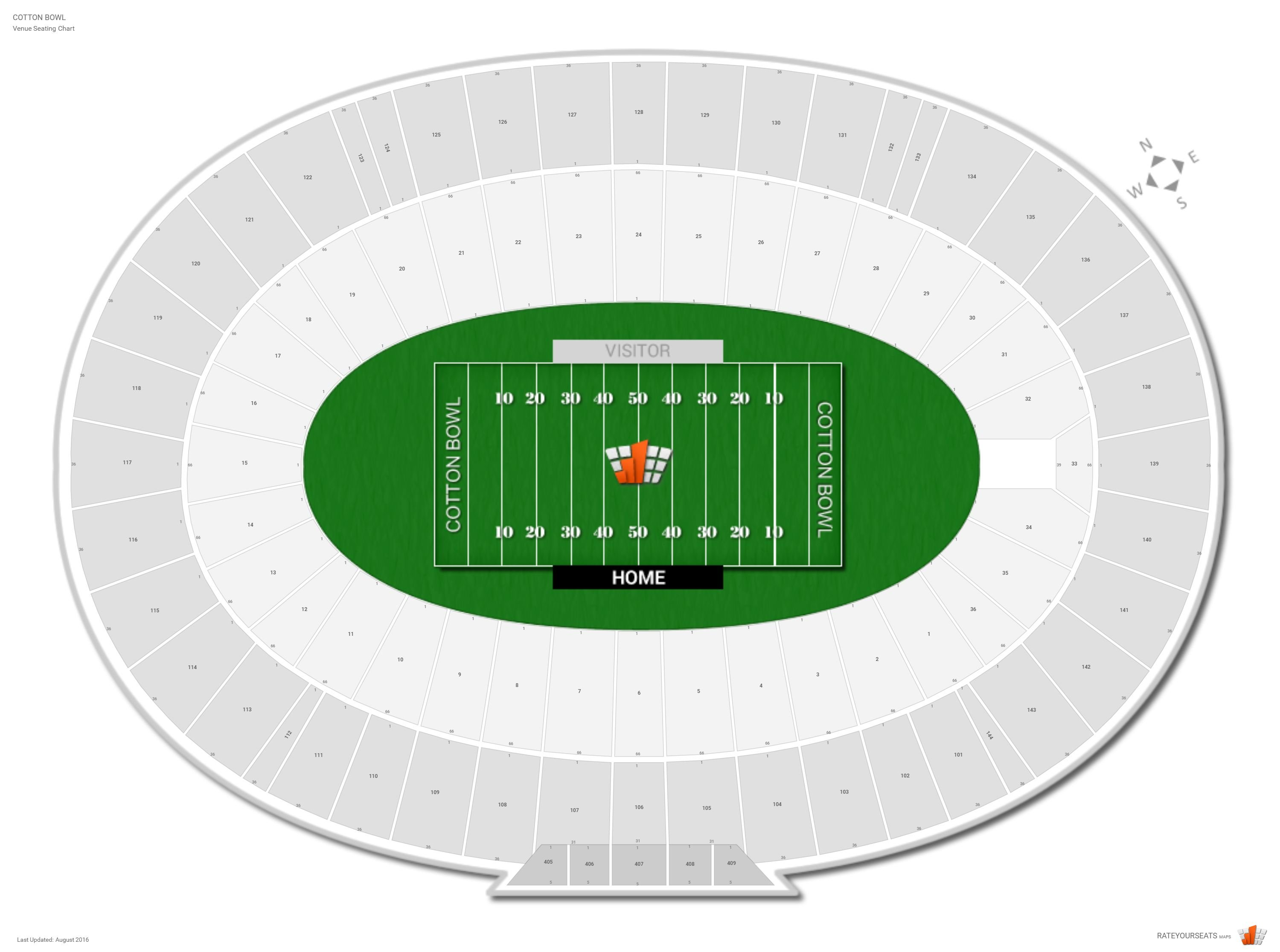 Cotton Bowl Seating Chart With Row Numbers