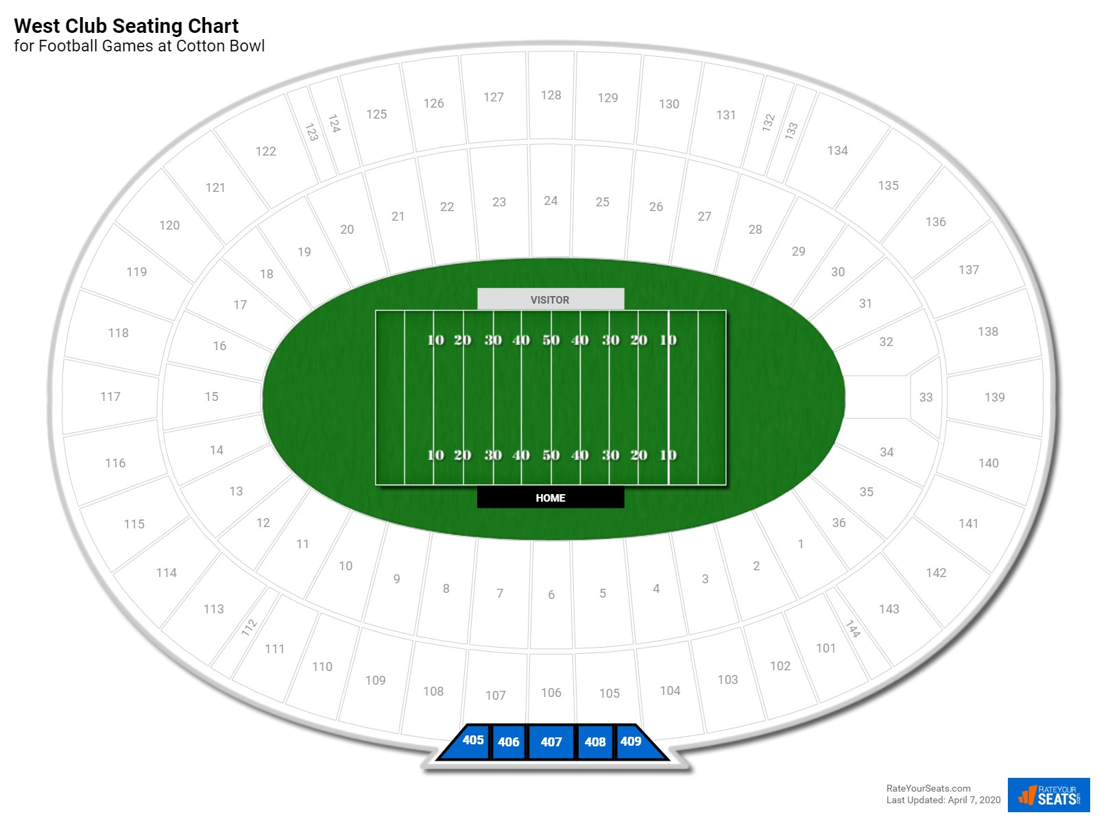 Cotton Bowl West Club seating chart