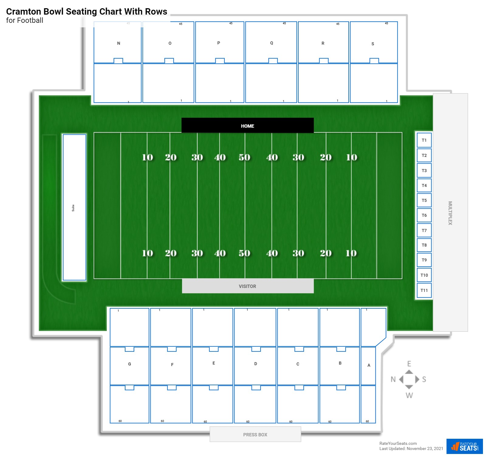 Cramton Bowl seating chart with rows