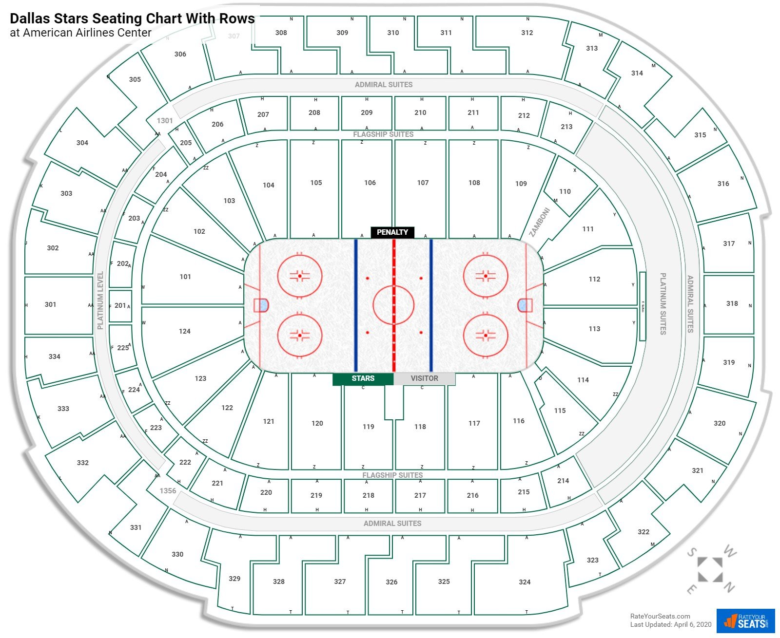 American Airlines Center seating chart with rows hockey