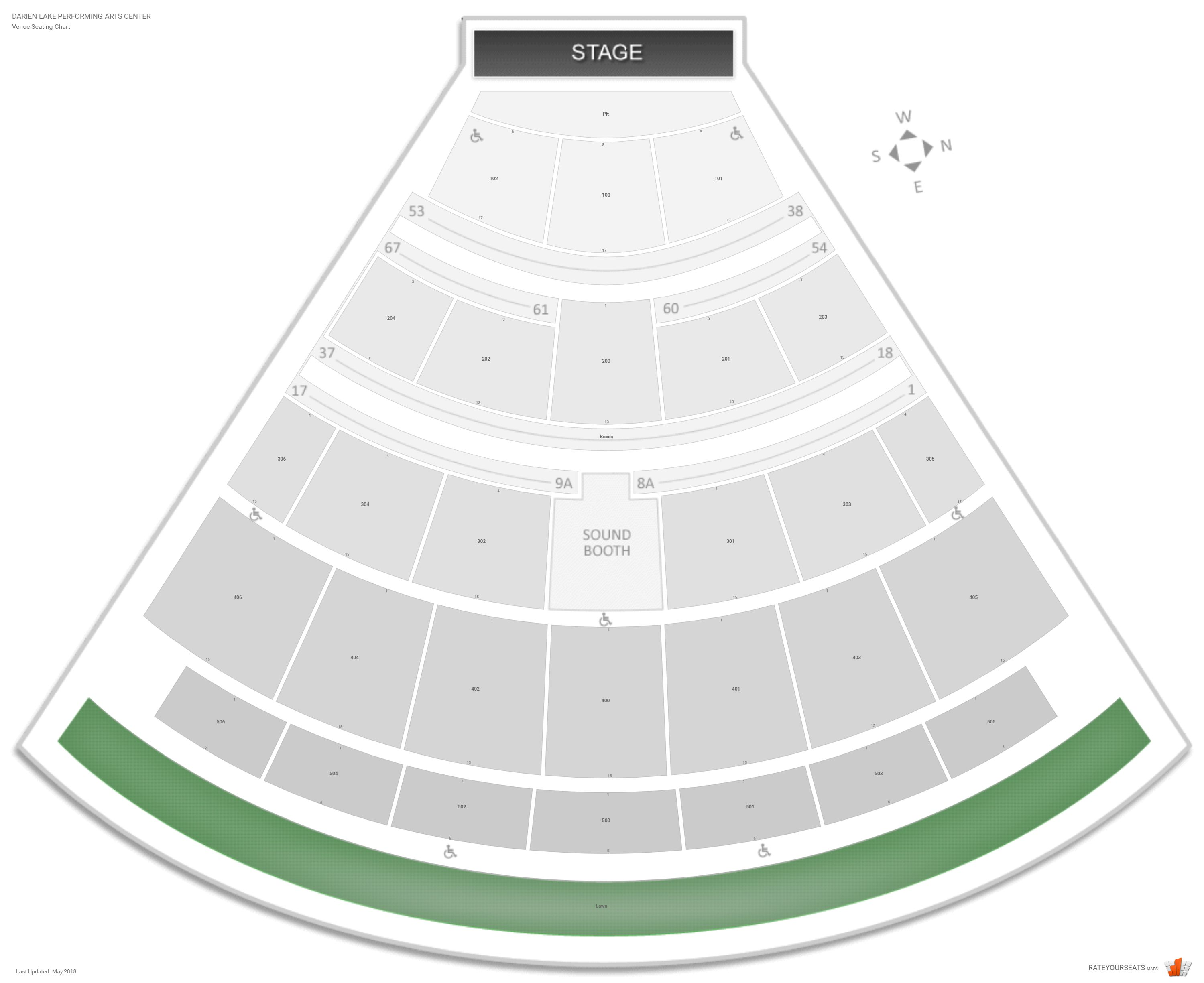 Darien Lake Performing Arts Center Seating Chart With Row Numbers