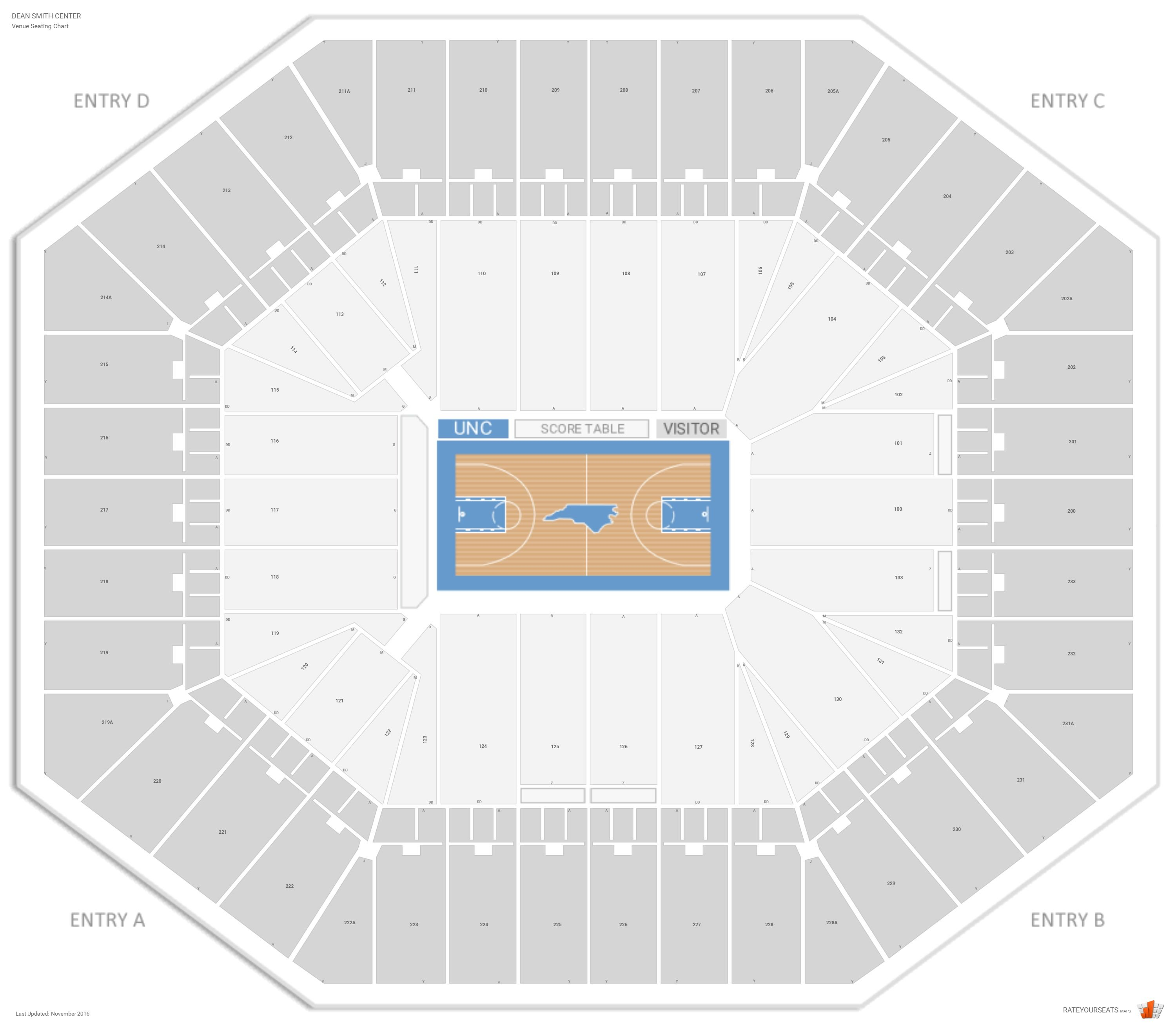 Dean Smith Center Seating Chart With Row Numbers