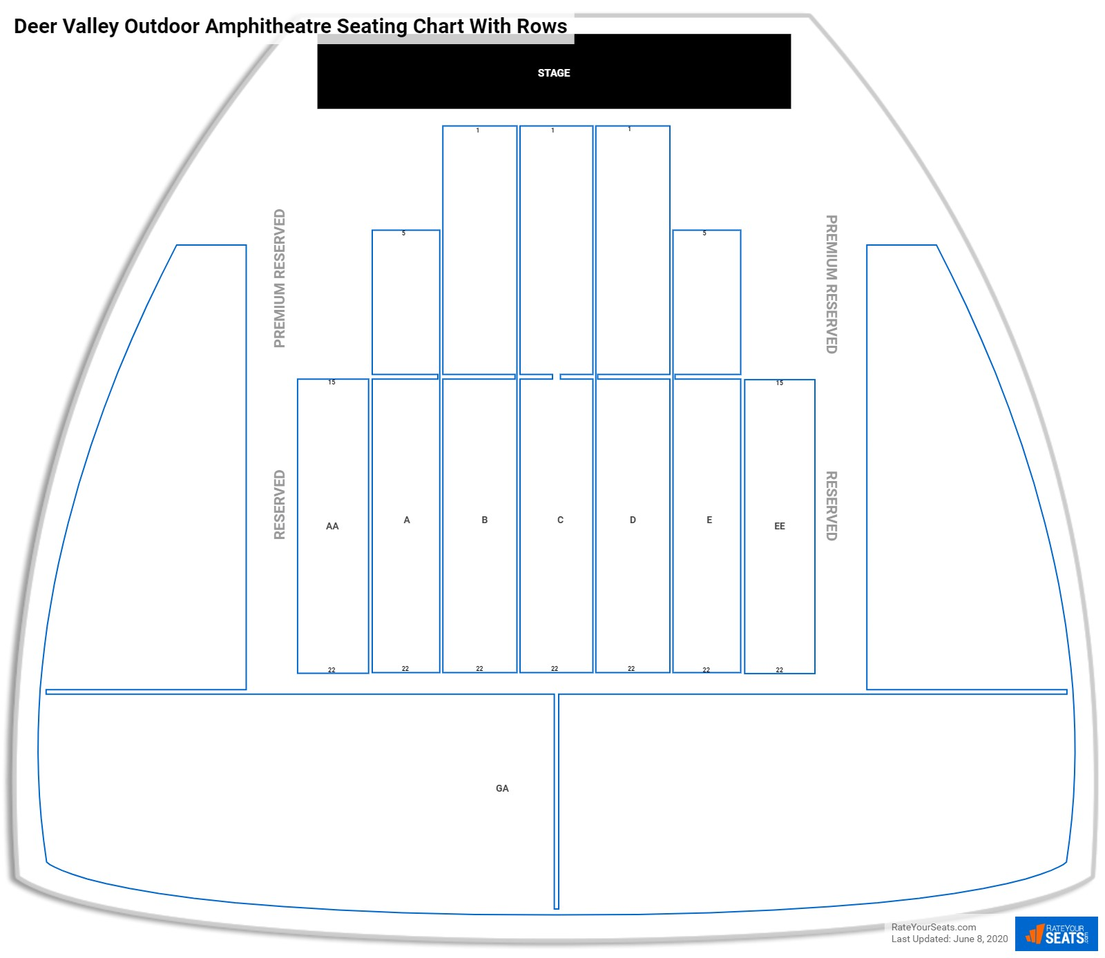 Deer Valley Outdoor Amphitheatre seating chart with rows