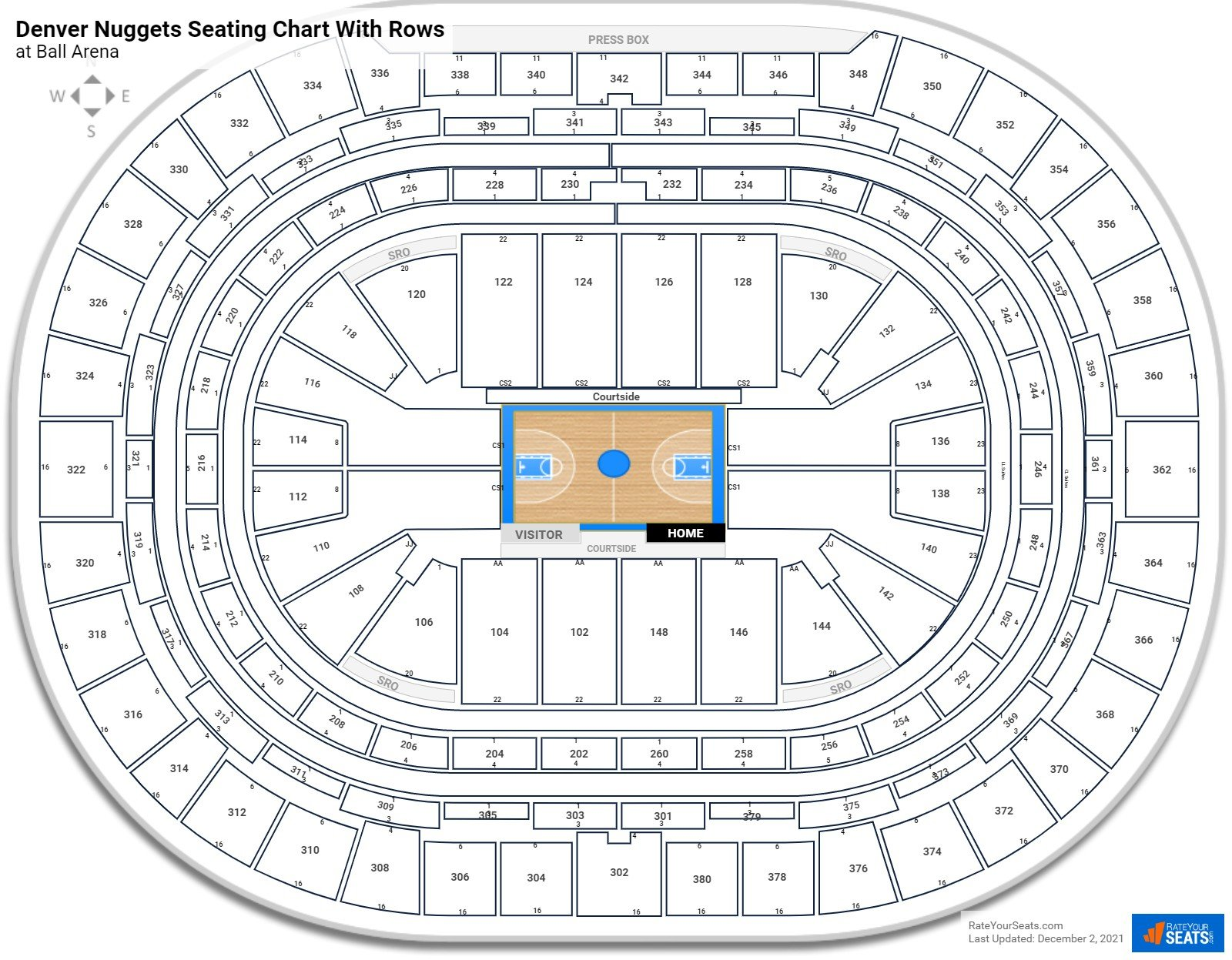 Ball Arena seating chart with rows basketball