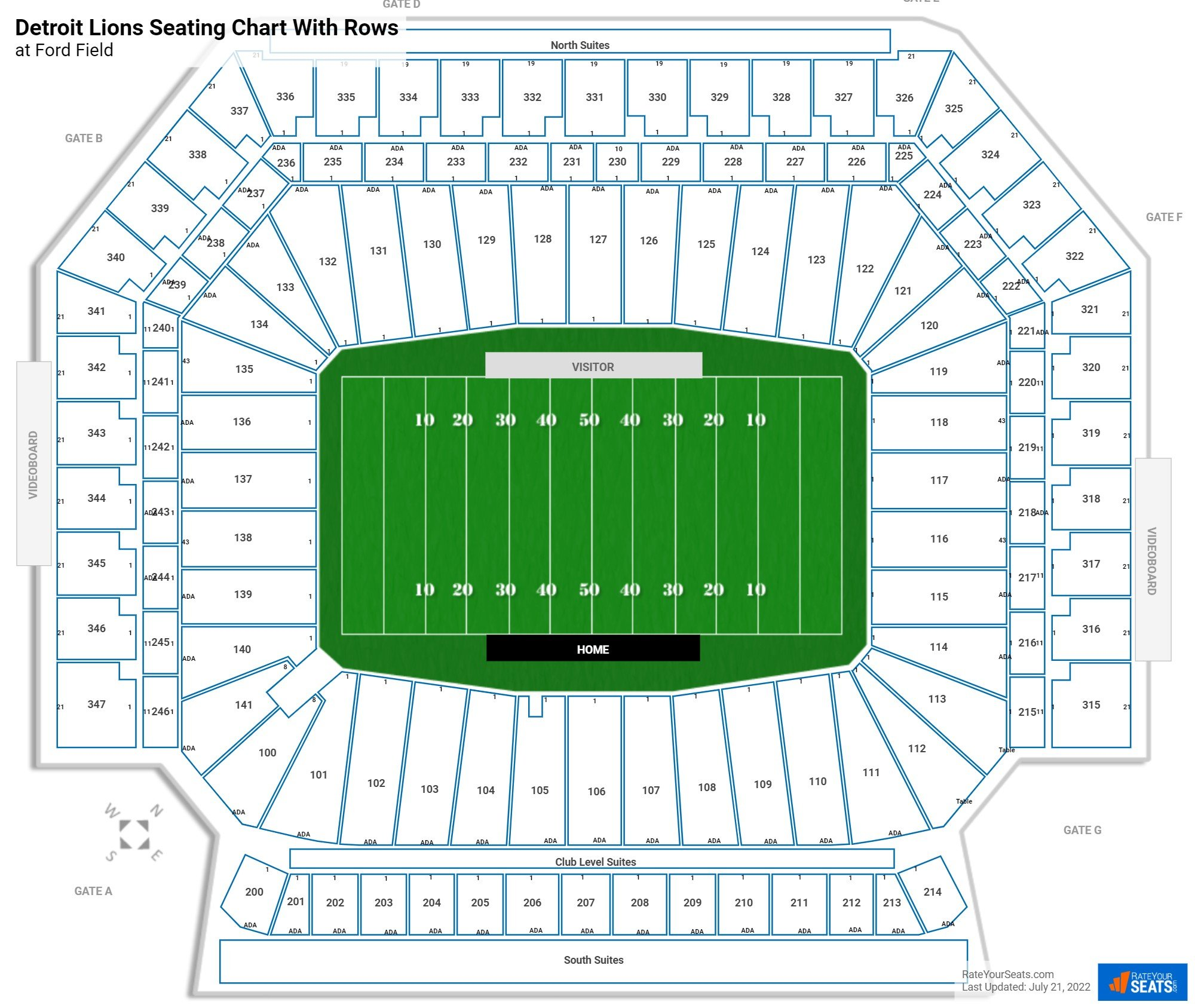 Ford Field seating chart with rows football