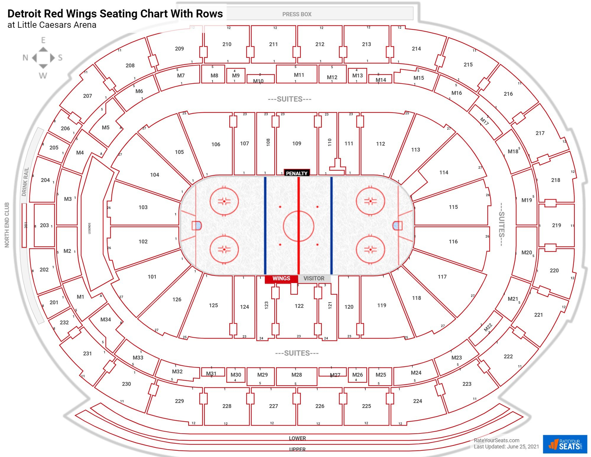 Little Caesars Arena seating chart with rows hockey