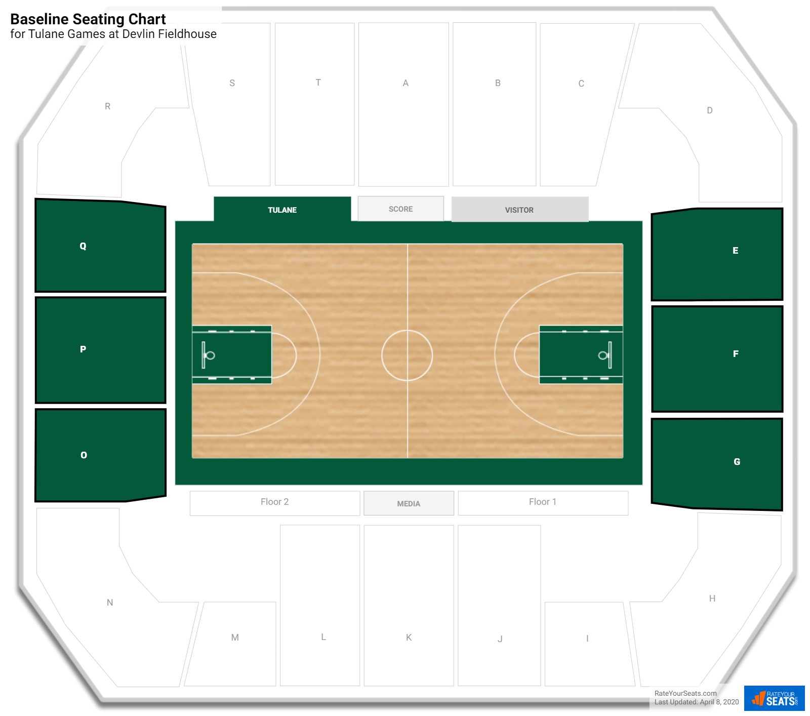 Devlin Fieldhouse Baseline seating chart