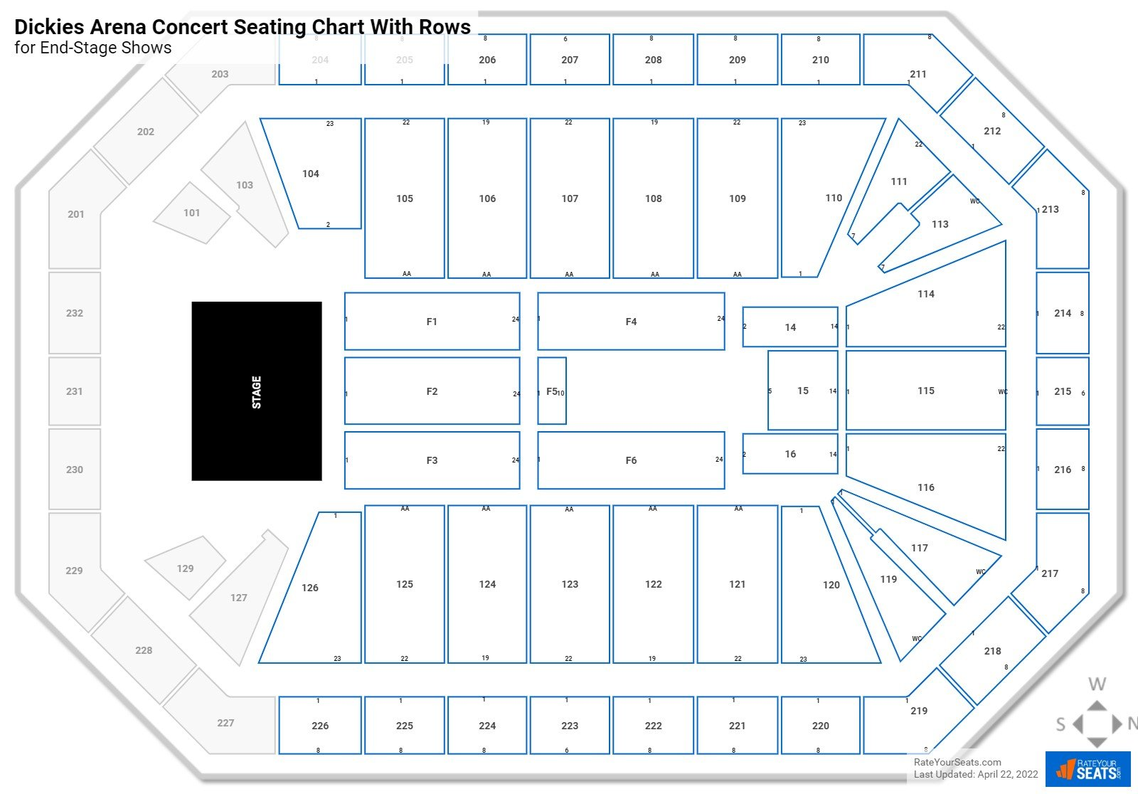 Dickies Arena seating chart with rows concert