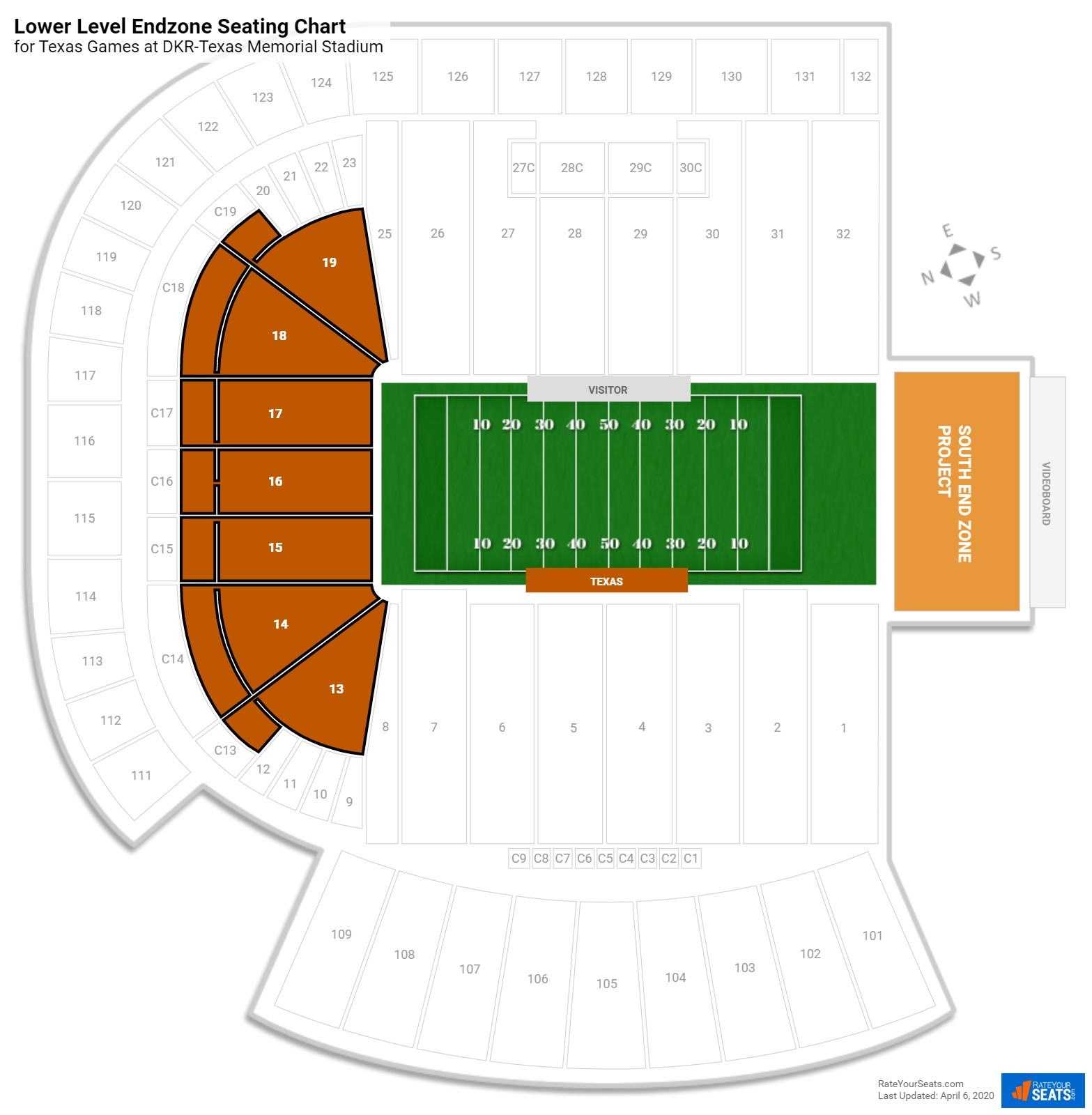 DKR-Texas Memorial Stadium Lower Level Endzone seating chart