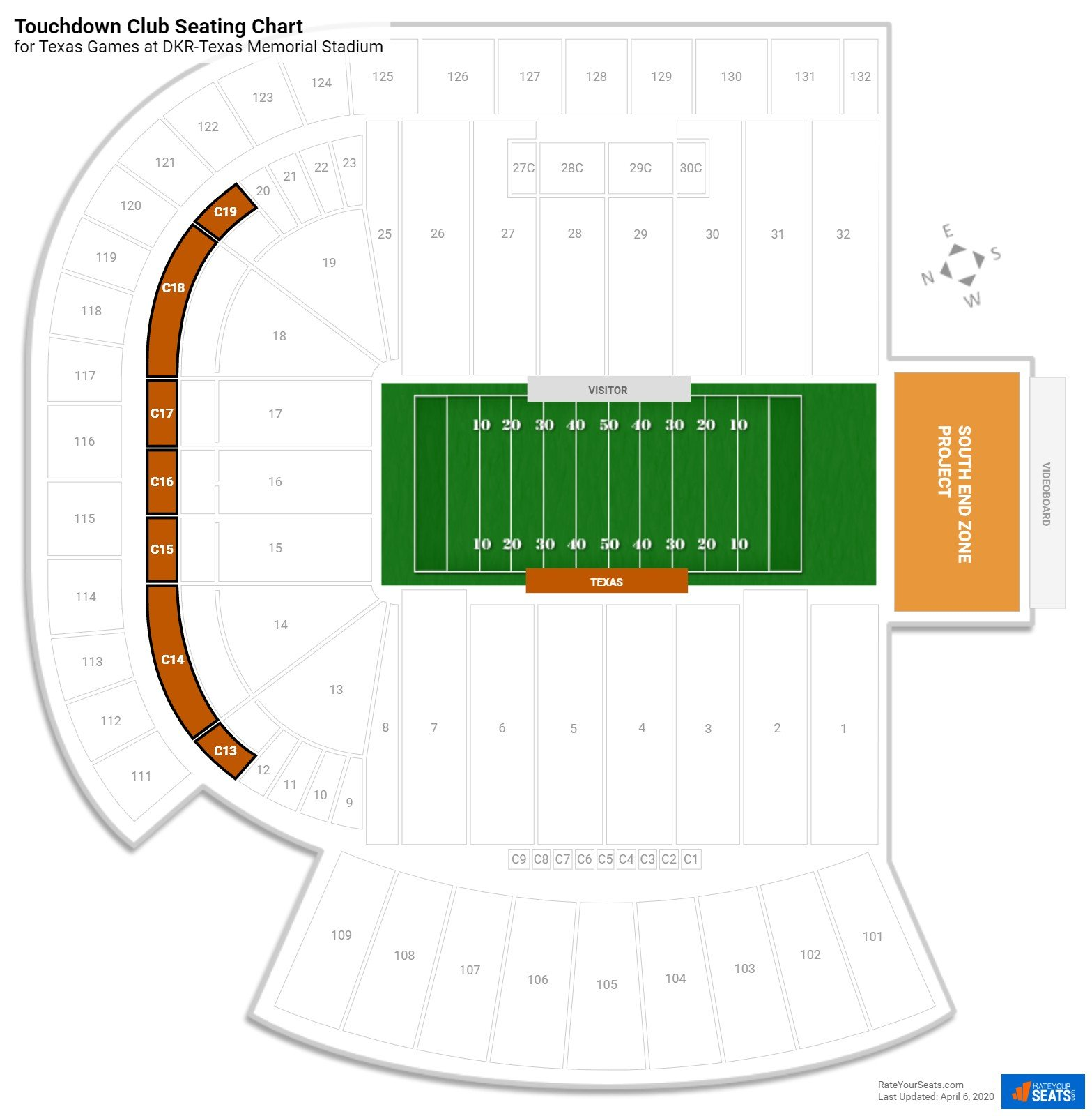 DKR-Texas Memorial Stadium Touchdown Club seating chart