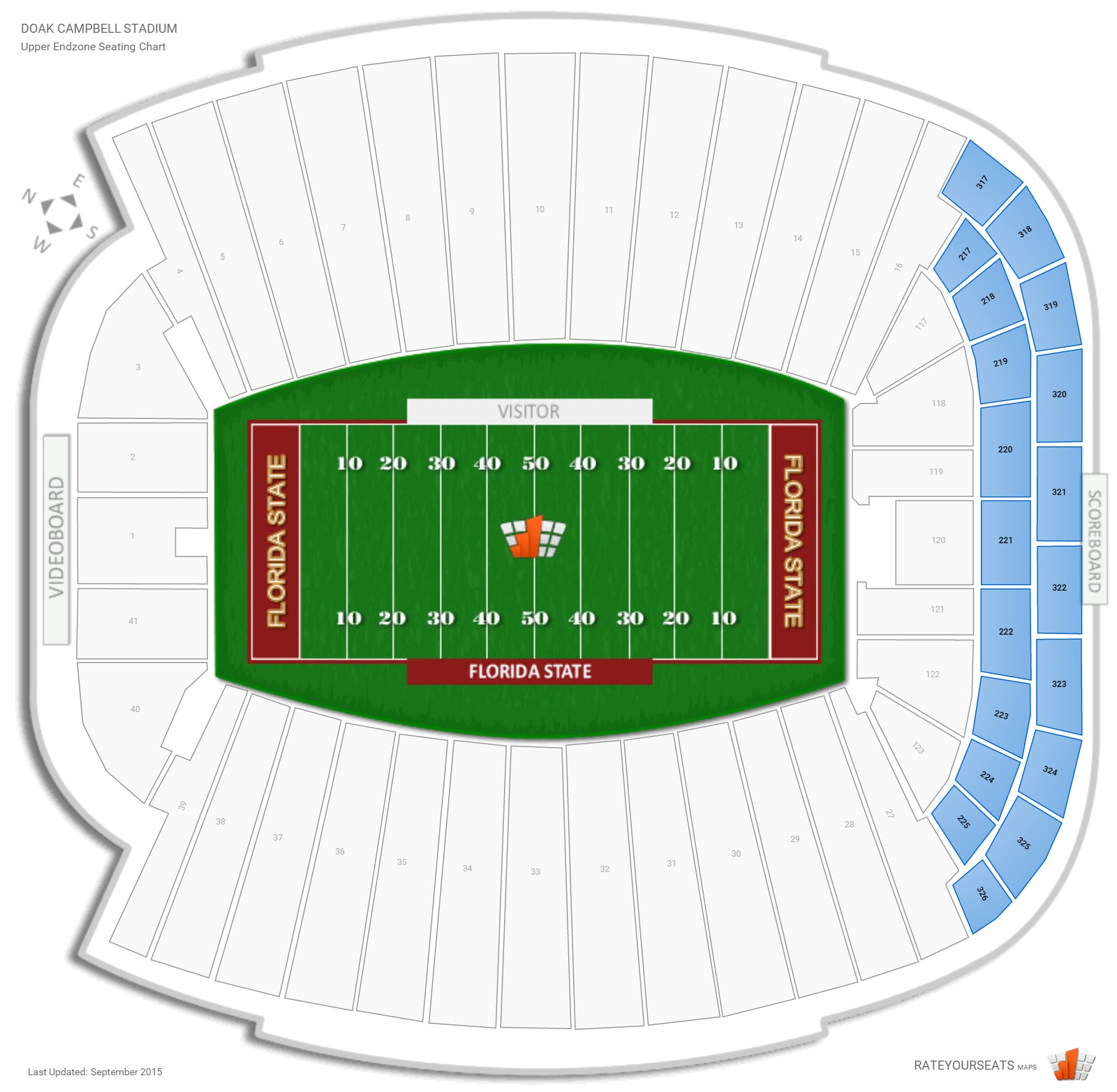 Doak Campbell Stadium Upper Endzone seating chart