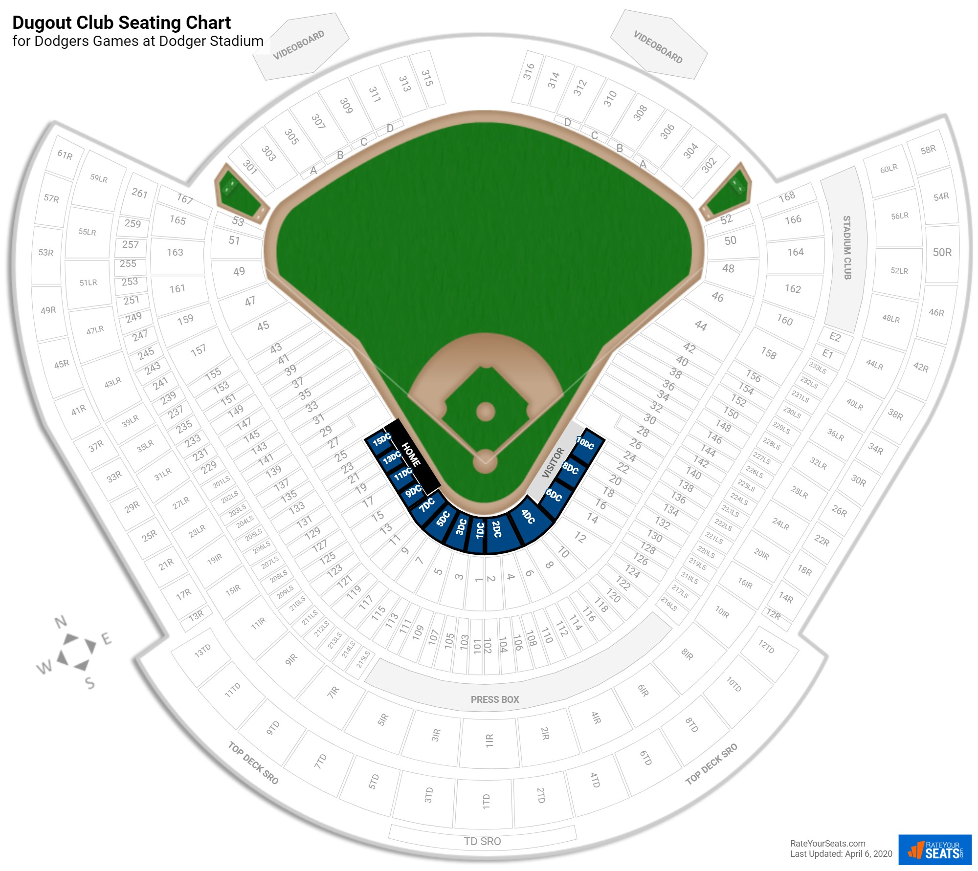 Dodger Stadium Dugout Club seating chart