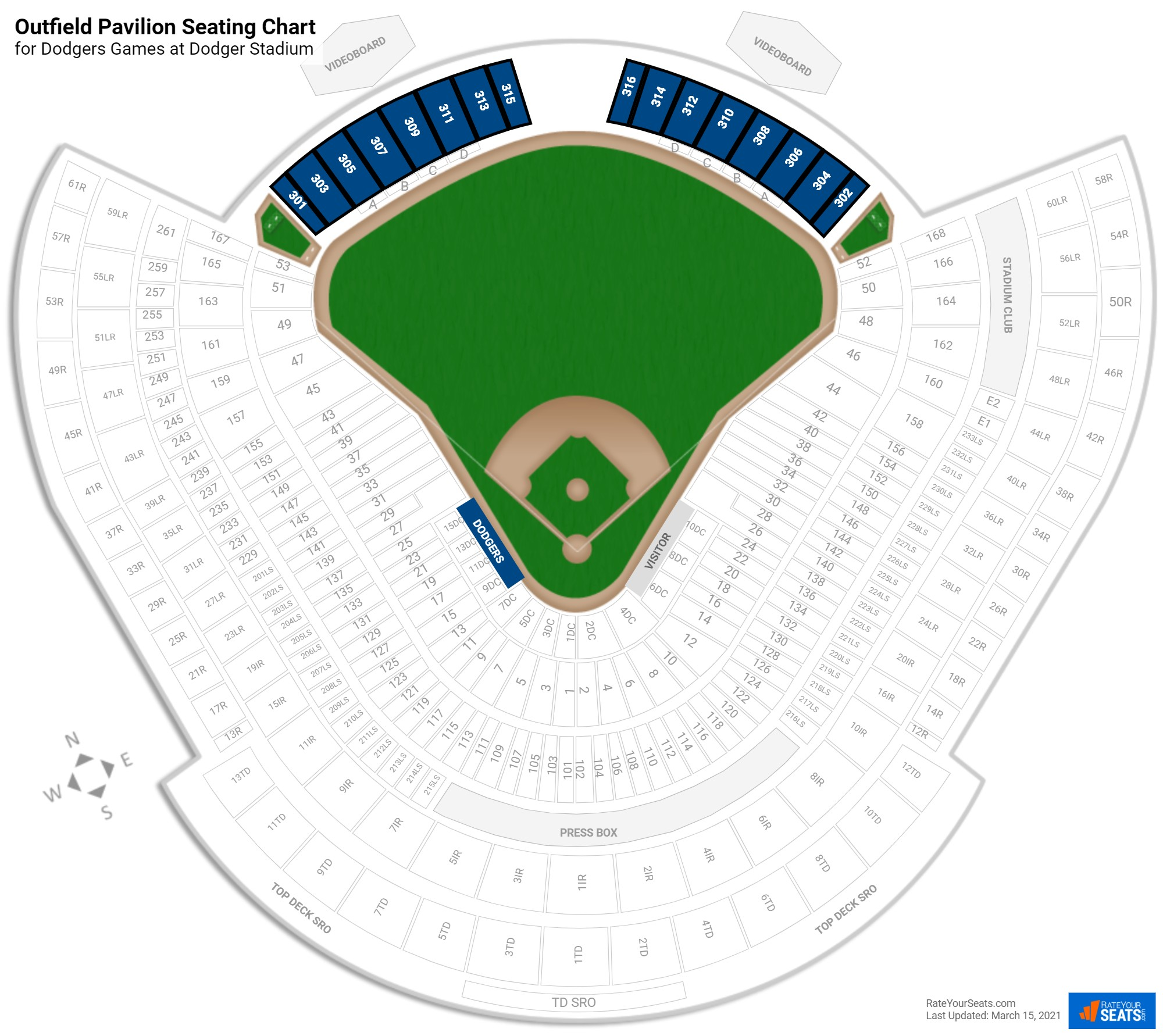 outfield pavilion dodger stadium baseball seating rateyourseatscom