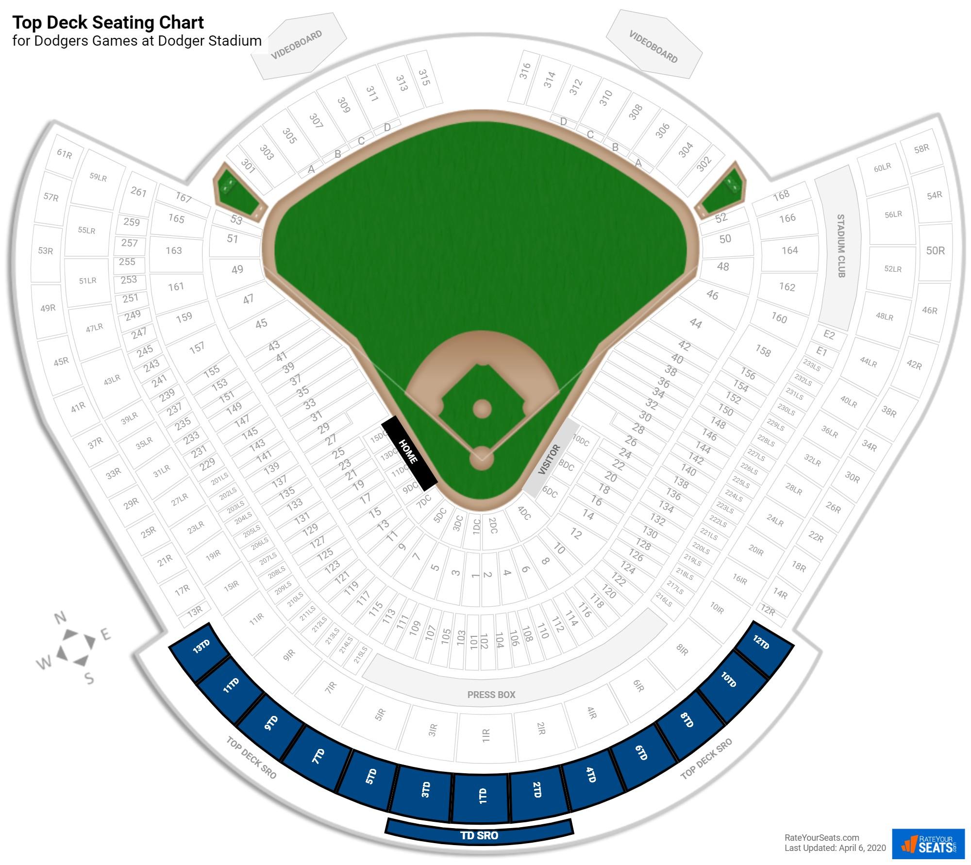 Top Deck Dodger Stadium Baseball Seating RateYourSeats
