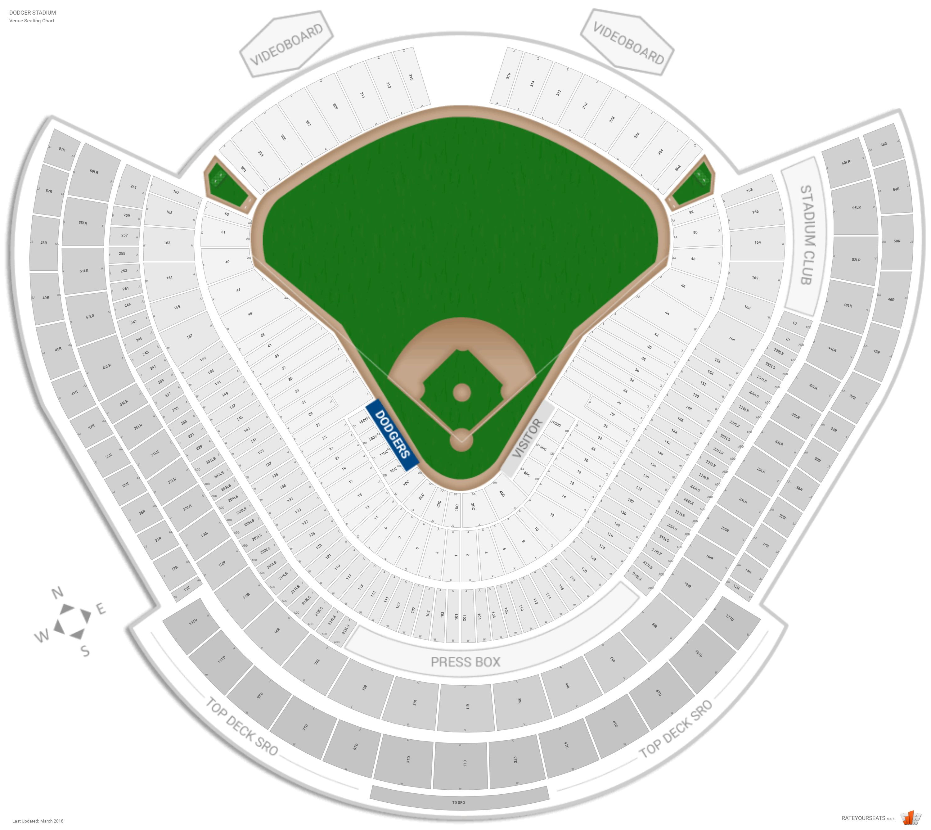 Los Angeles Dodgers Seating Guide - Dodger Stadium ...