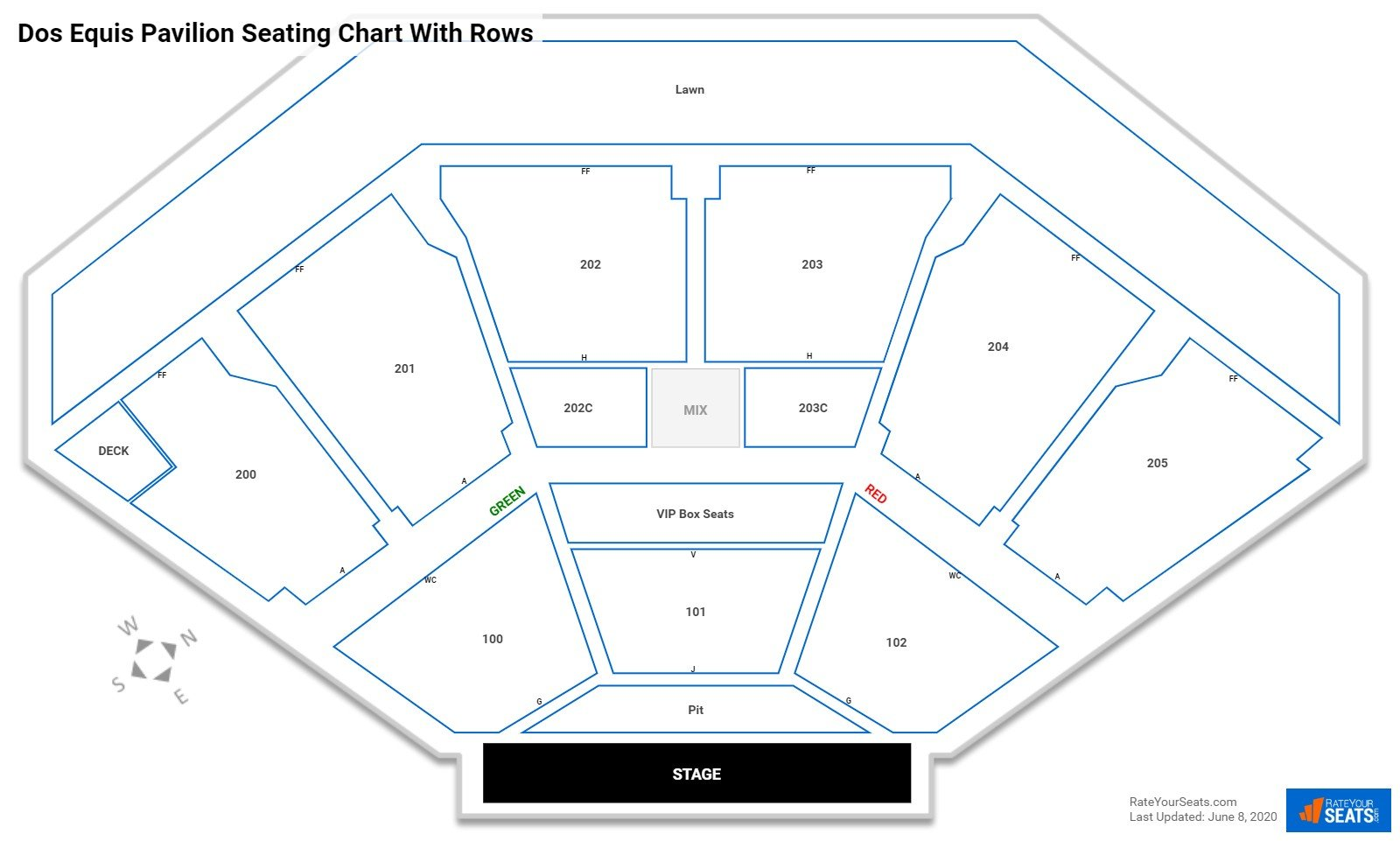 Dos Equis Pavilion seating chart with rows
