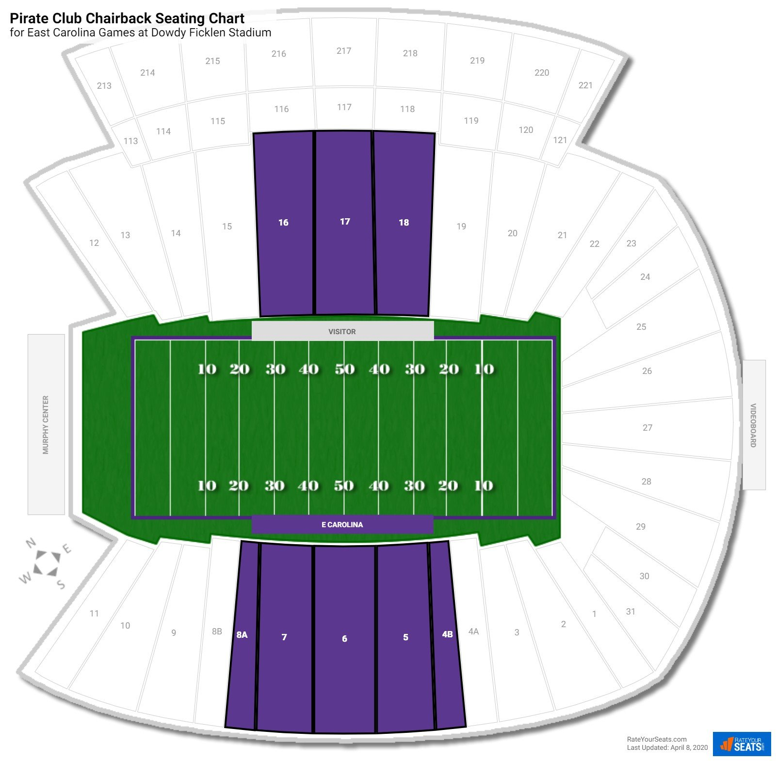 Dowdy Ficklen Stadium Pirate Club Chairback seating chart
