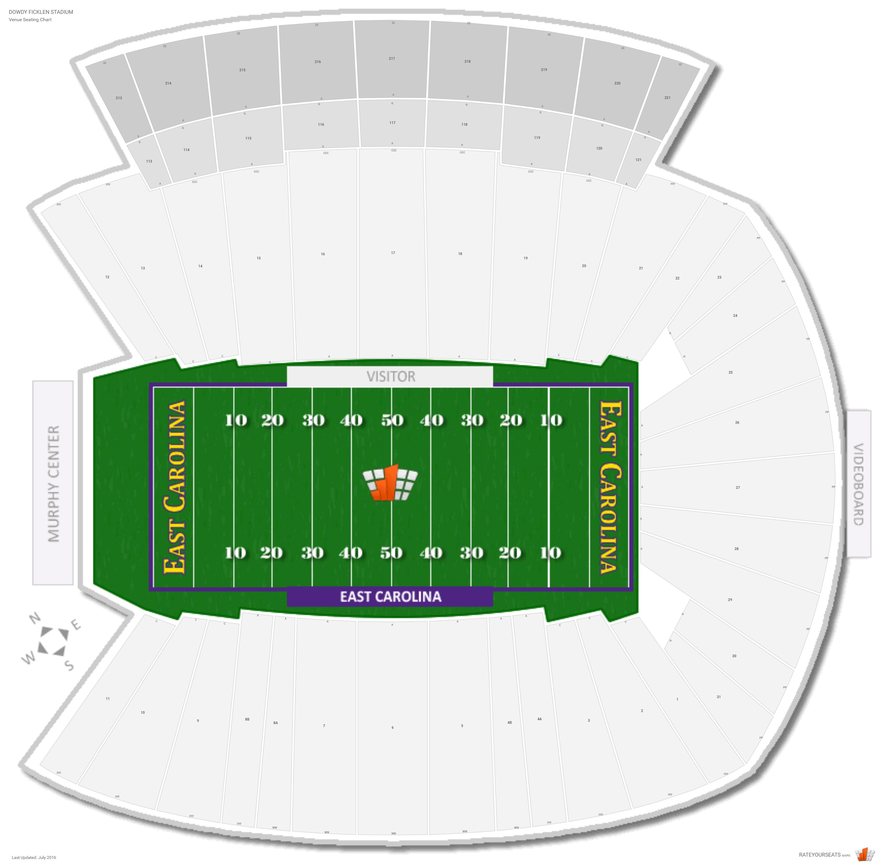 Dowdy Ficklen Stadium Seating Chart with Row Numbers