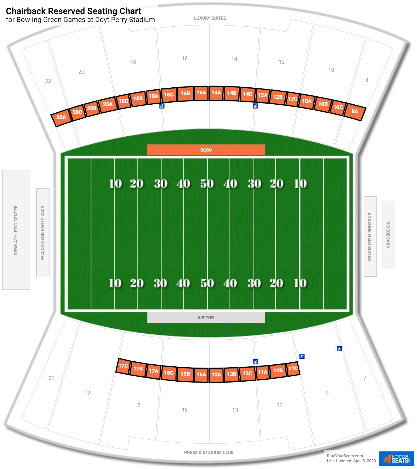 Doyt Perry Stadium Chairback Reserved seating chart