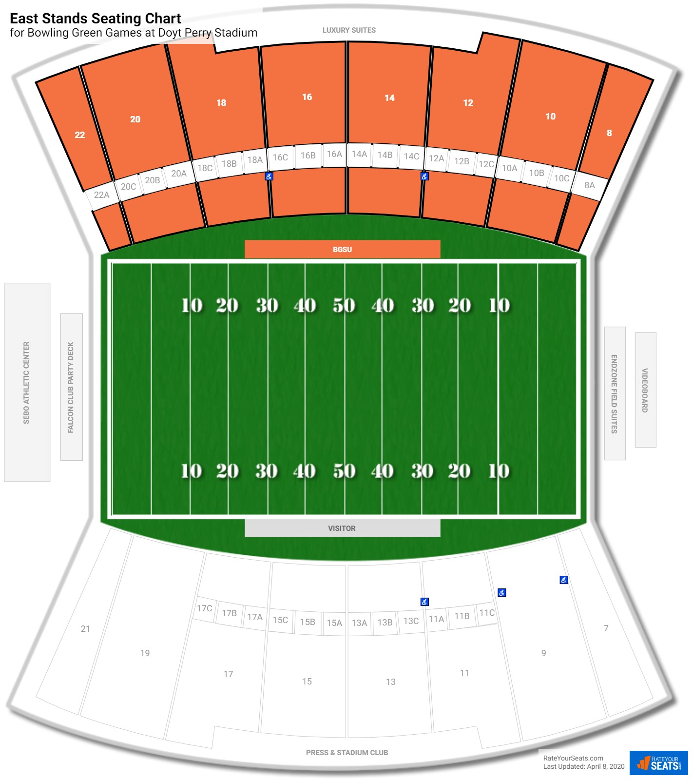 Doyt Perry Stadium East Stands seating chart