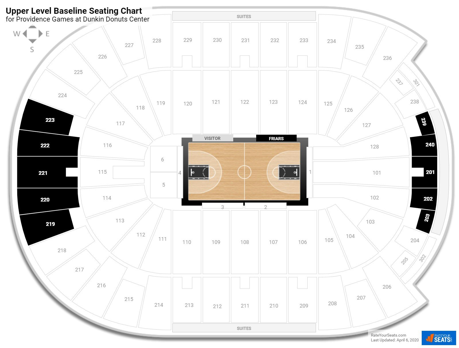 Dunkin Donuts Center Upper Level Baseline seating chart