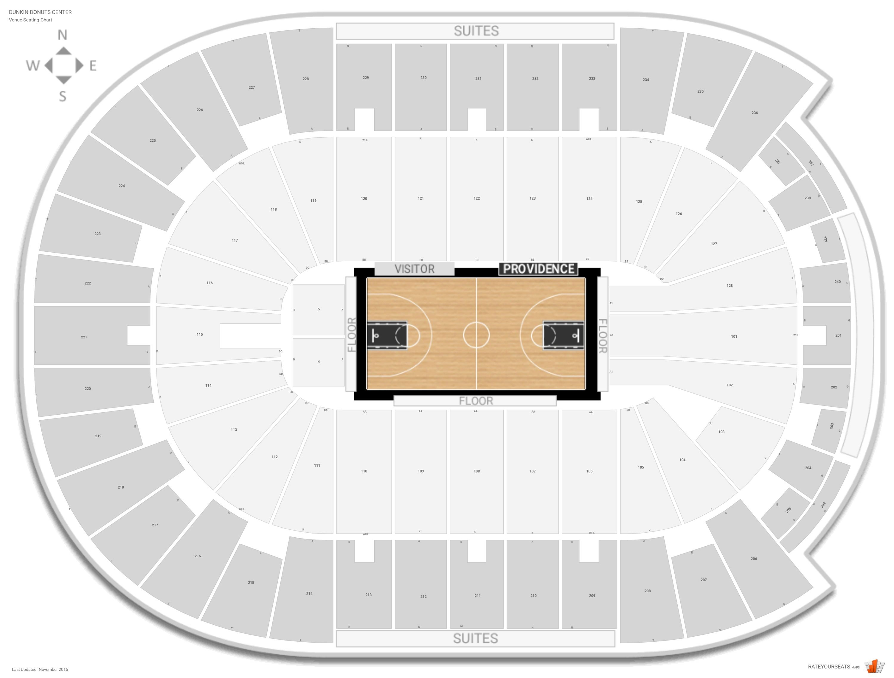 Dunkin Donuts Center Seating Chart with Row Numbers