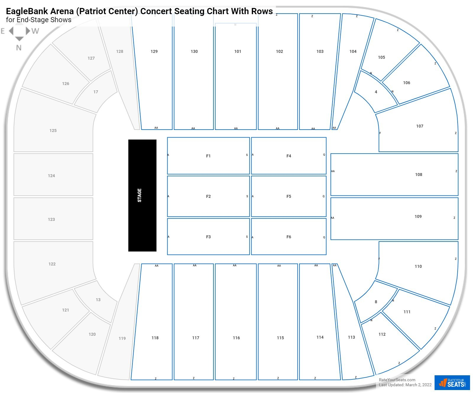 EagleBank Arena (Patriot Center) seating chart with rows