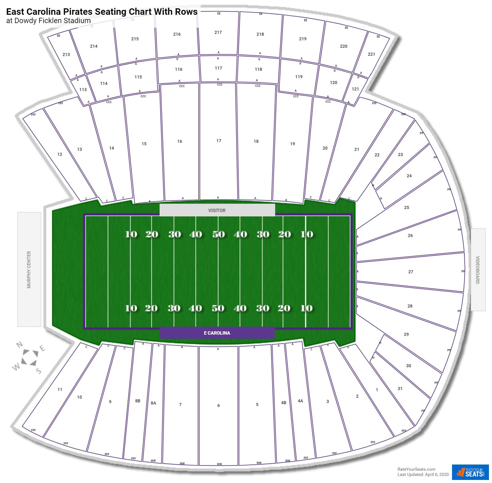 Dowdy Ficklen Stadium seating chart with rows
